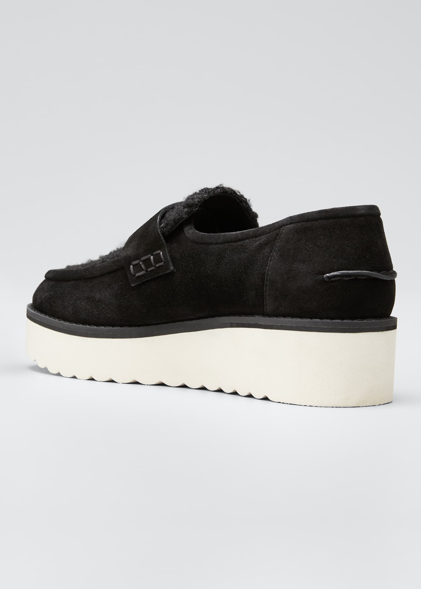 Image 2 of 3: Zola Suede and Shearling Chunky Loafers