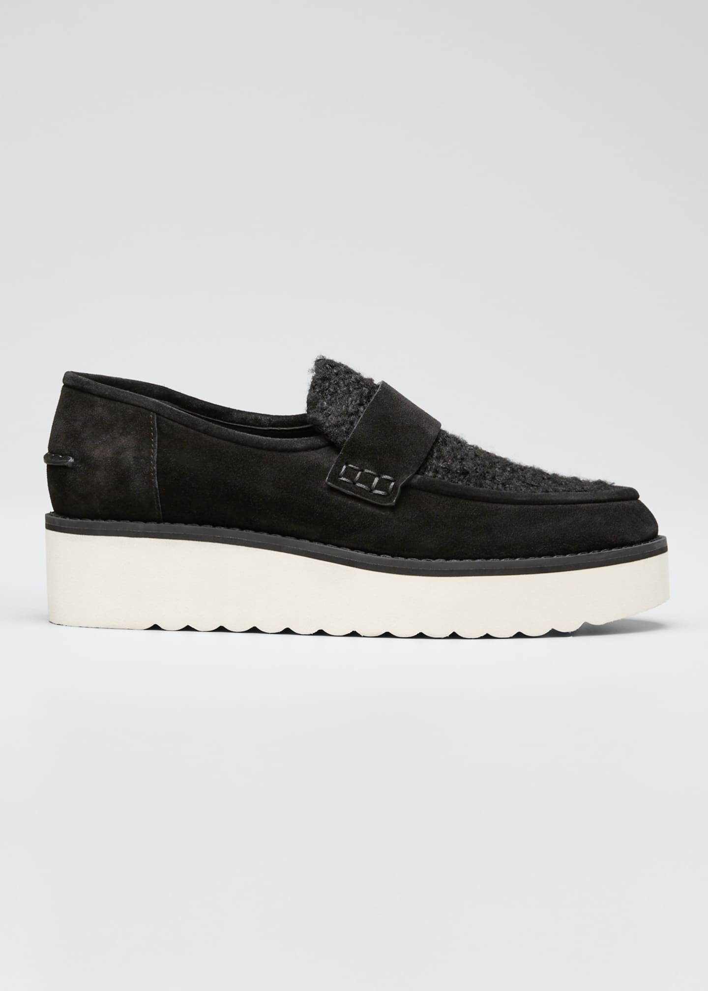Image 1 of 3: Zola Suede and Shearling Chunky Loafers