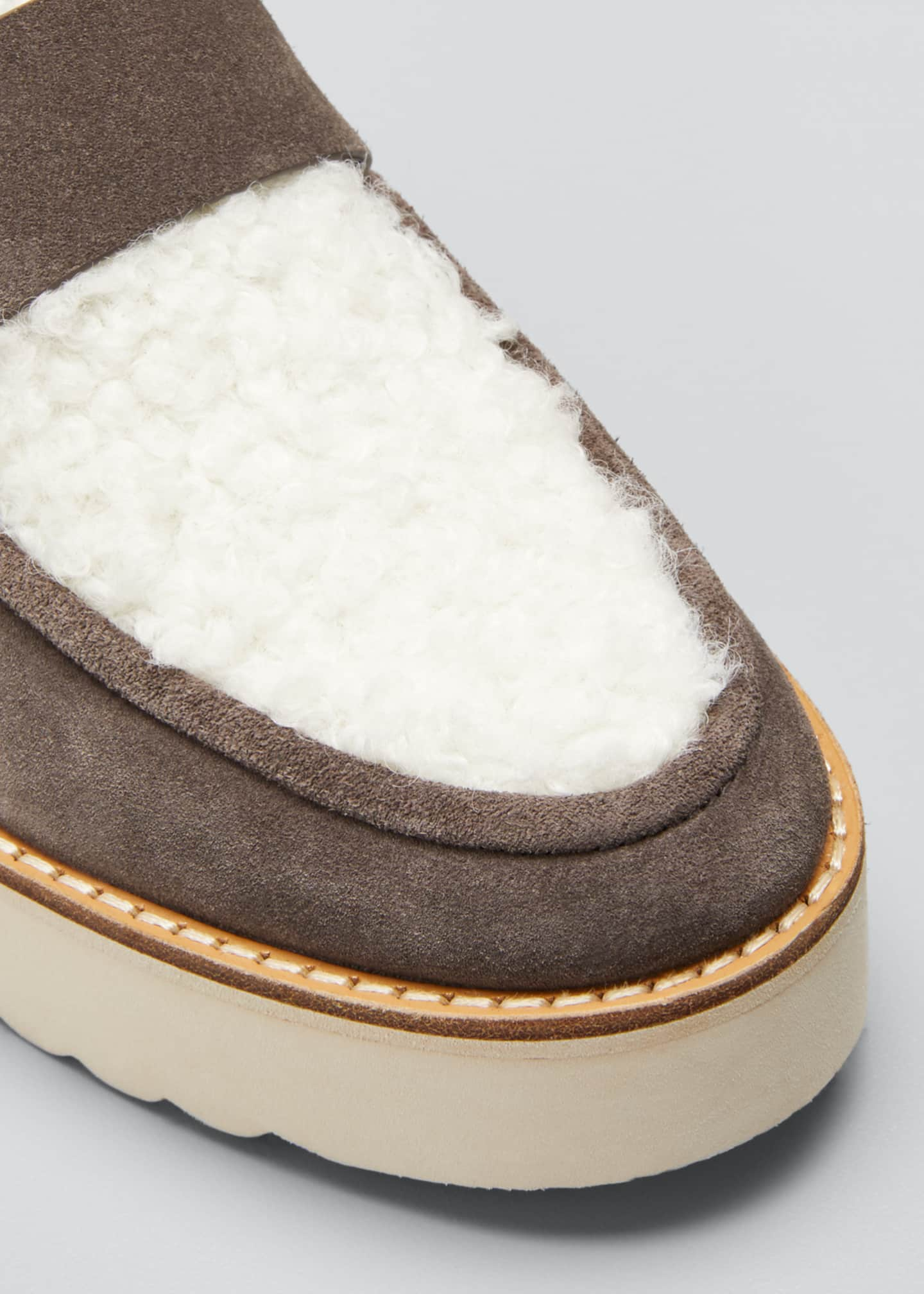 Image 3 of 3: Zola Suede and Shearling Chunky Loafers