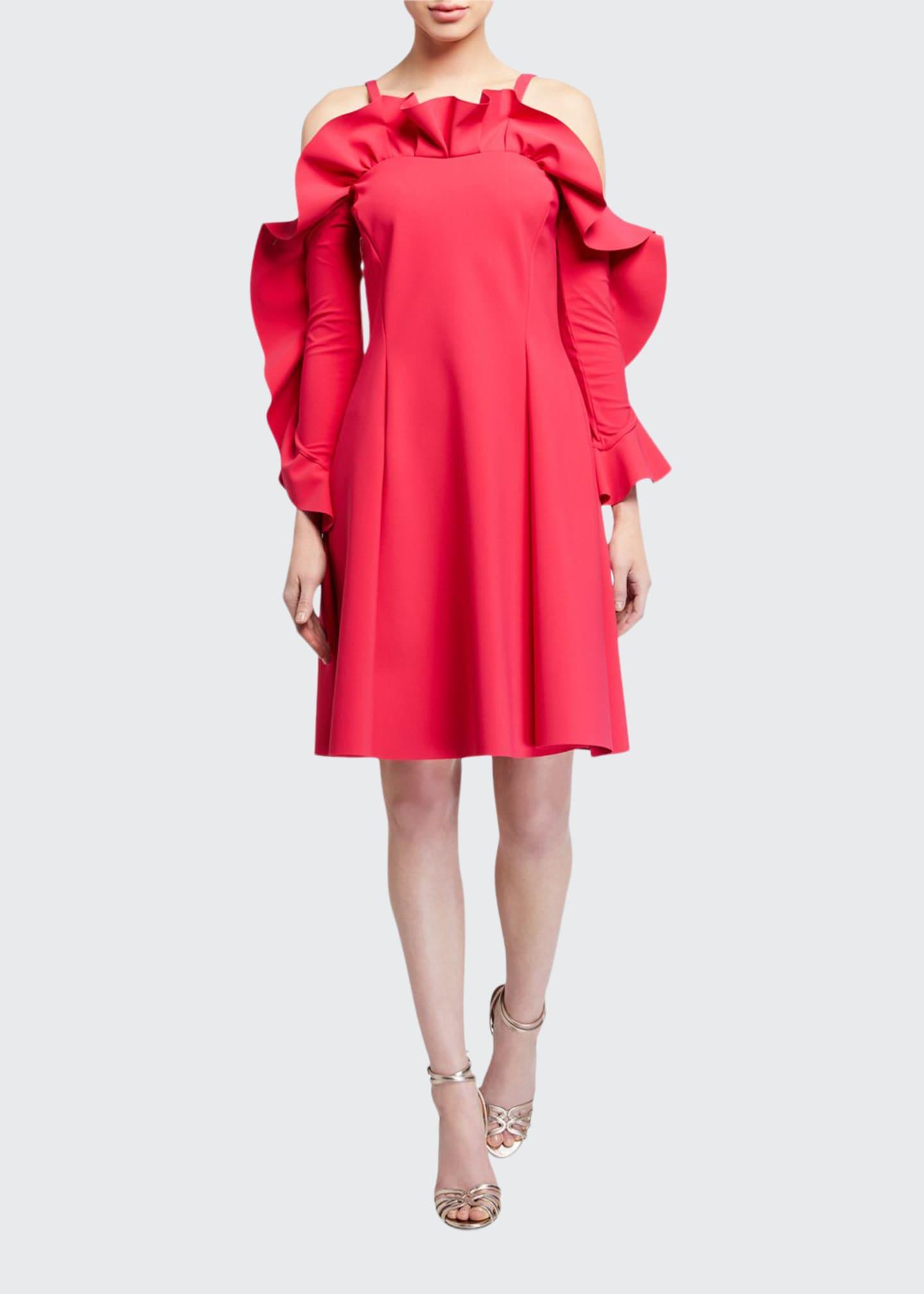 Chiara Boni La Petite Robe Ruffle-Neck Cold-Shoulder A-Line