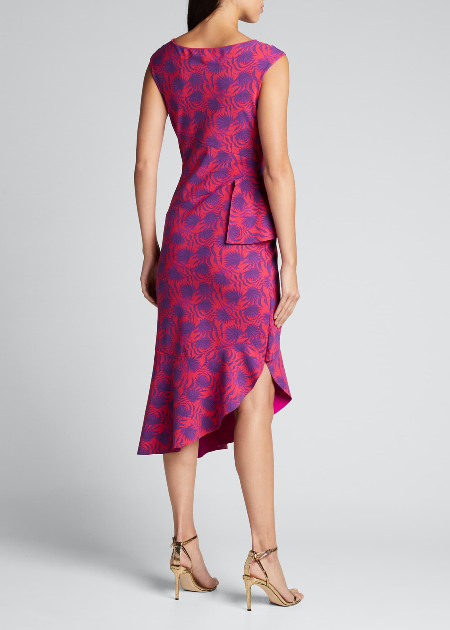 Image 2 of 5: Printed High-Neck Sleeveless Asymmetric Flounce Dress