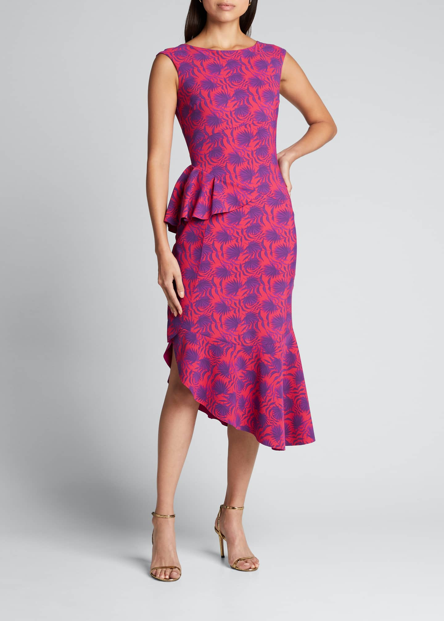 Image 3 of 5: Printed High-Neck Sleeveless Asymmetric Flounce Dress