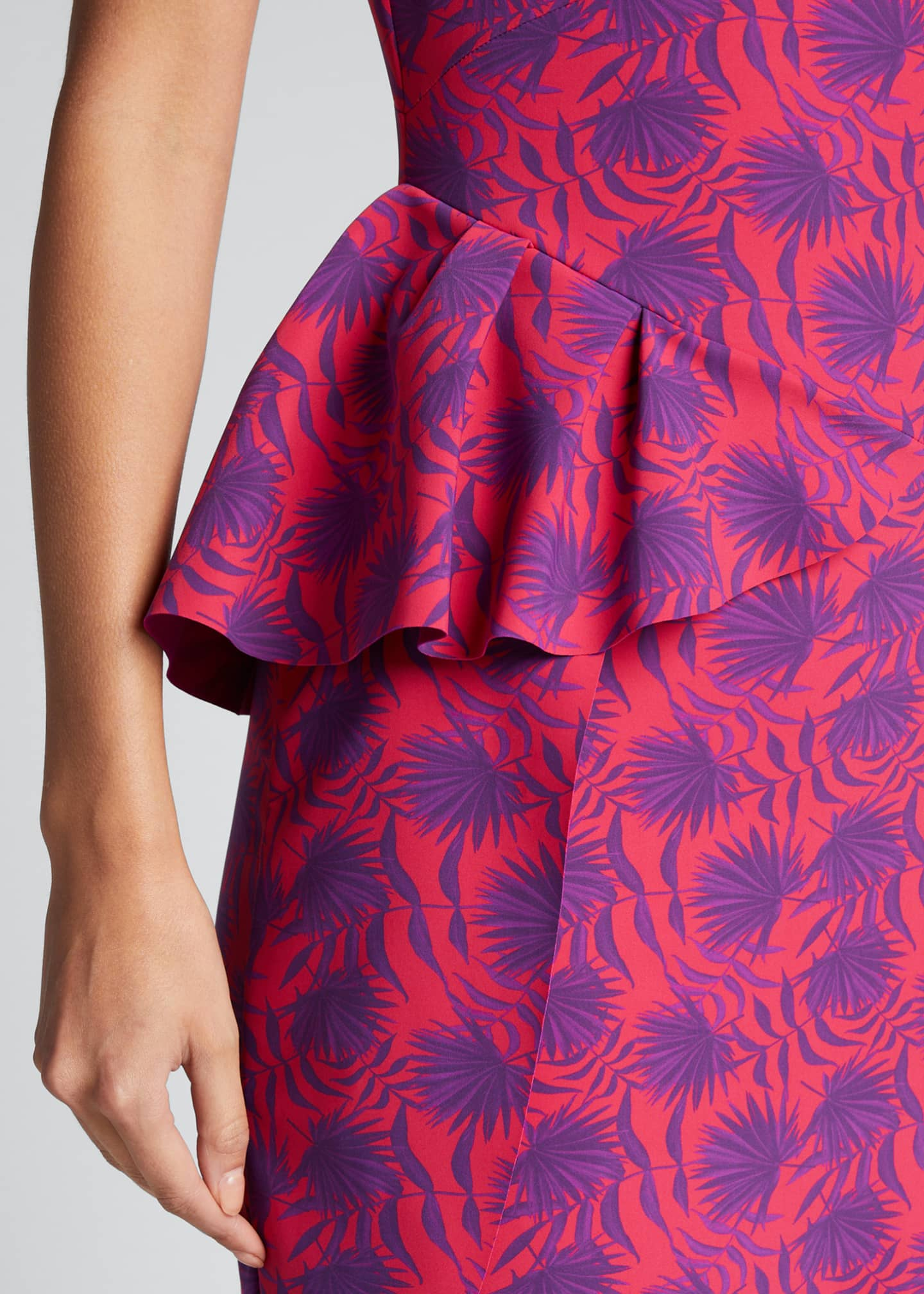 Image 4 of 5: Printed High-Neck Sleeveless Asymmetric Flounce Dress