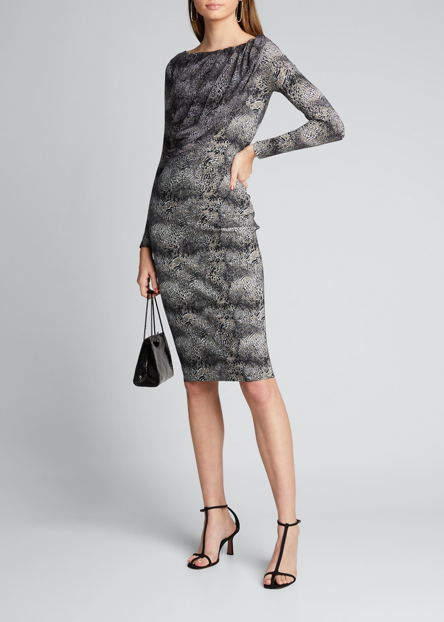 Chiara Boni La Petite Robe Snake-Print Long-Sleeve Dress