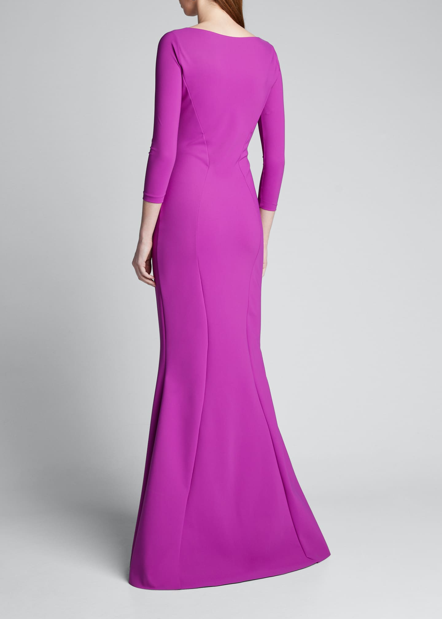 Image 2 of 5: V-Neck 3/4-Sleeve Mermaid Gown w/ Flower Detail