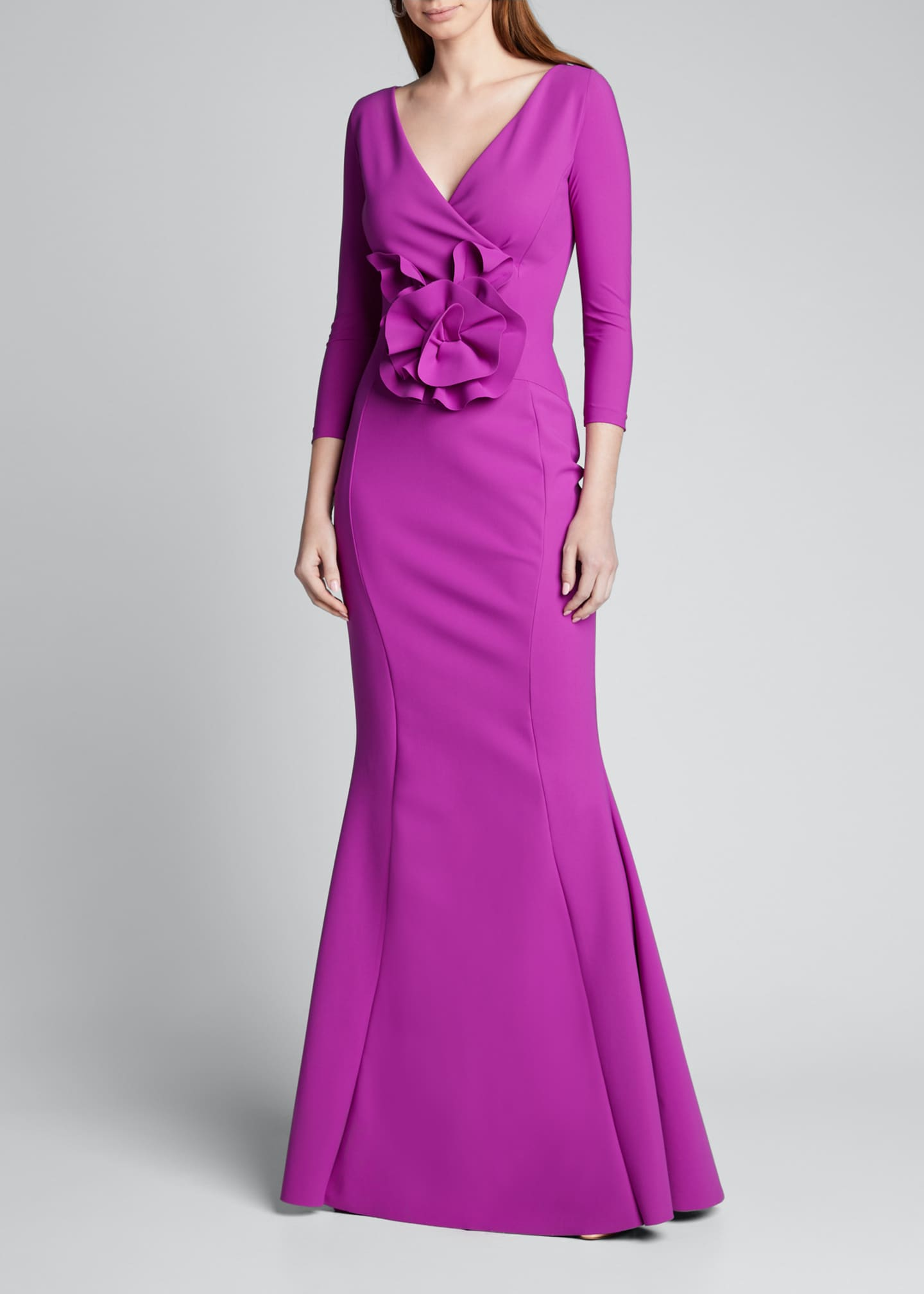 Image 3 of 5: V-Neck 3/4-Sleeve Mermaid Gown w/ Flower Detail