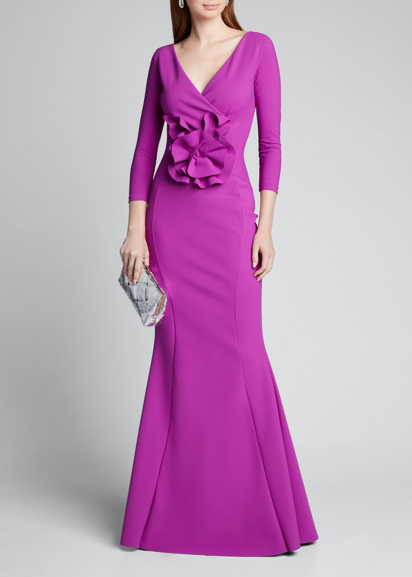 Image 1 of 5: V-Neck 3/4-Sleeve Mermaid Gown w/ Flower Detail