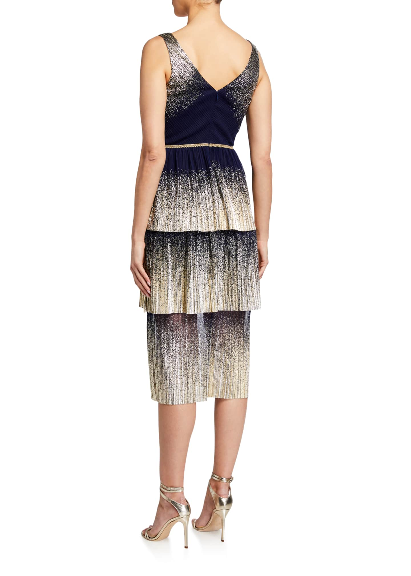 Image 2 of 2: V-Neck Pleated Foil Degrade Tiered Cocktail Dress