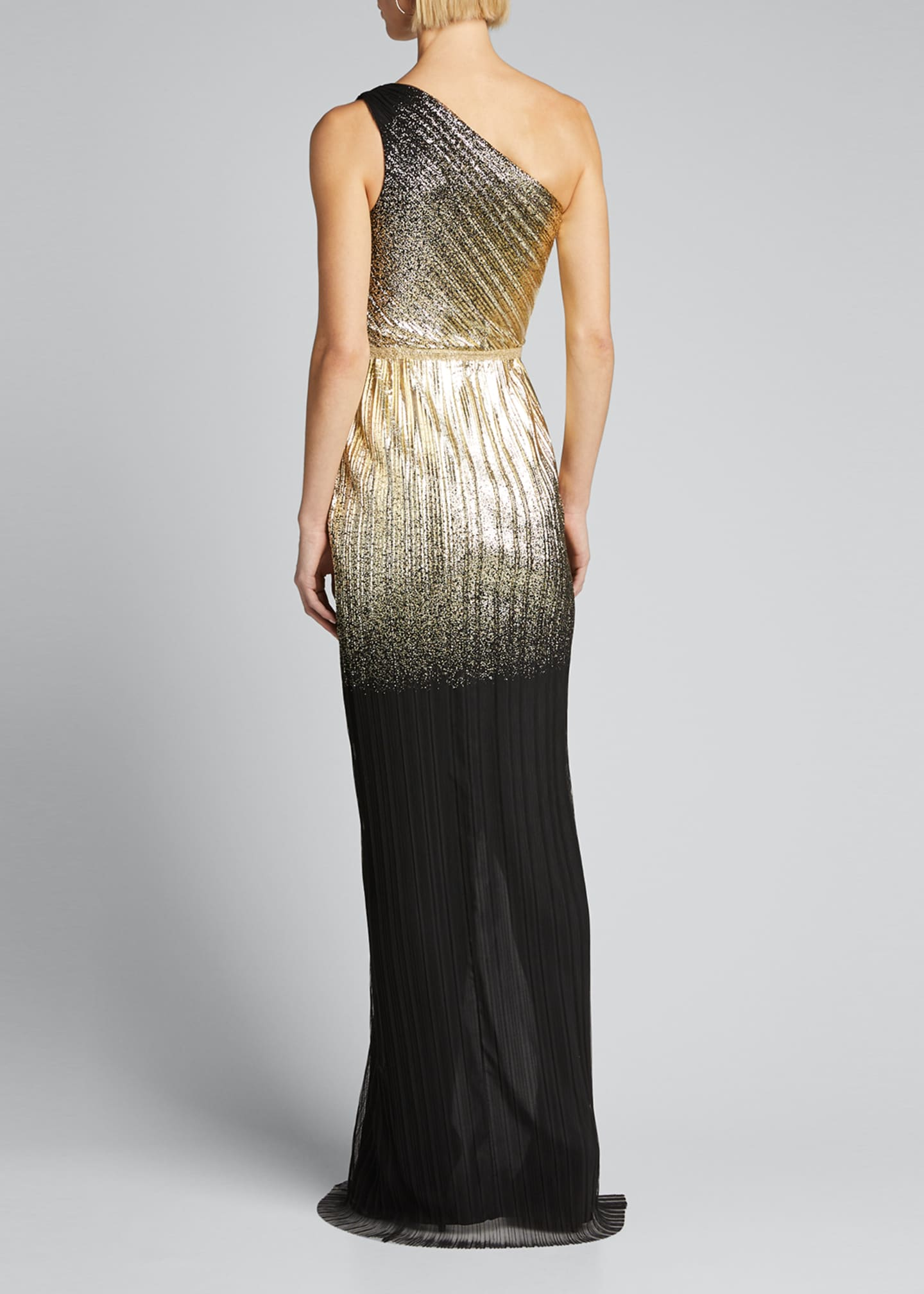 Image 2 of 5: One-Shoulder Pleated Foil Degrade Gown w/ High Slit