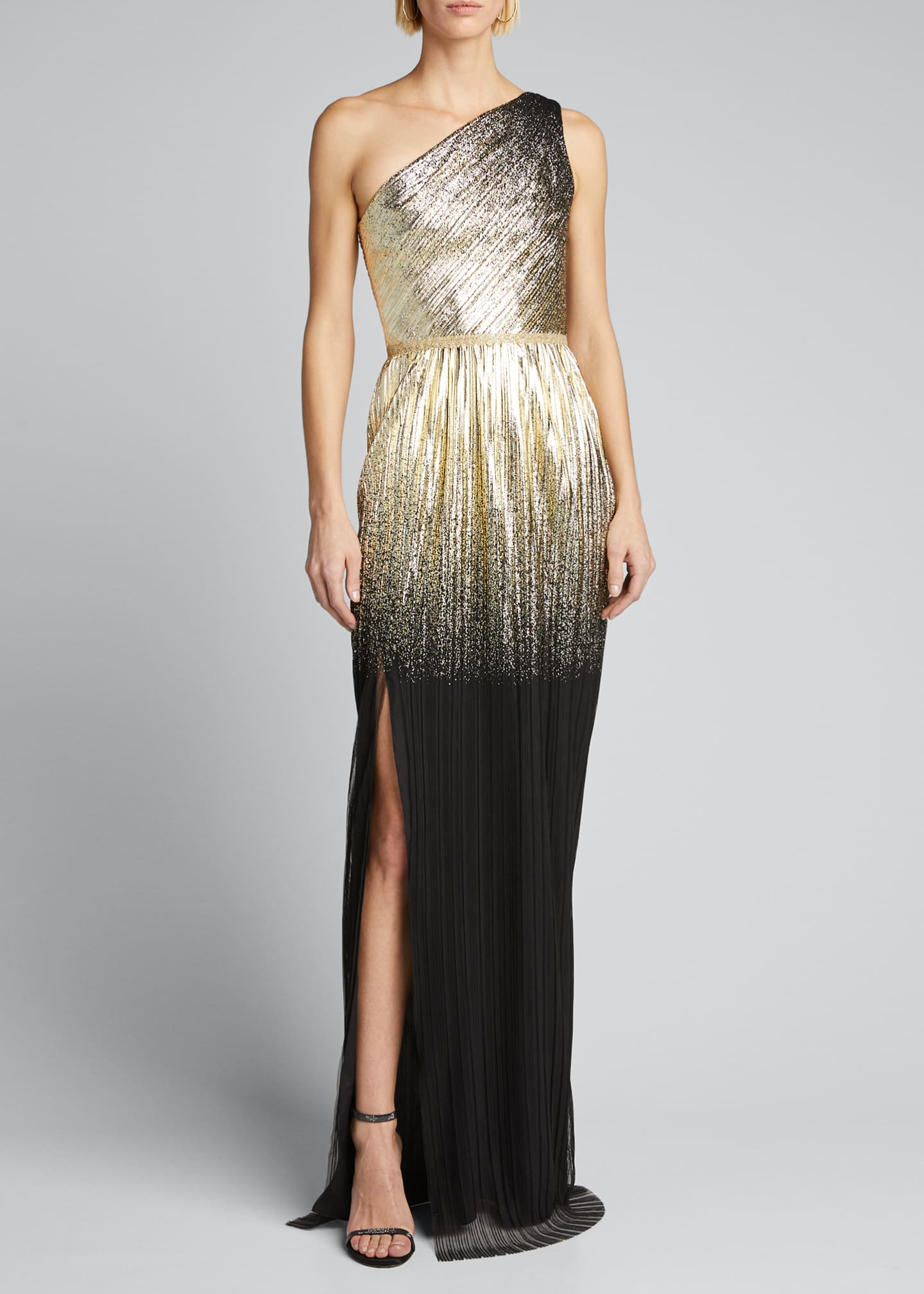 Image 3 of 5: One-Shoulder Pleated Foil Degrade Gown w/ High Slit