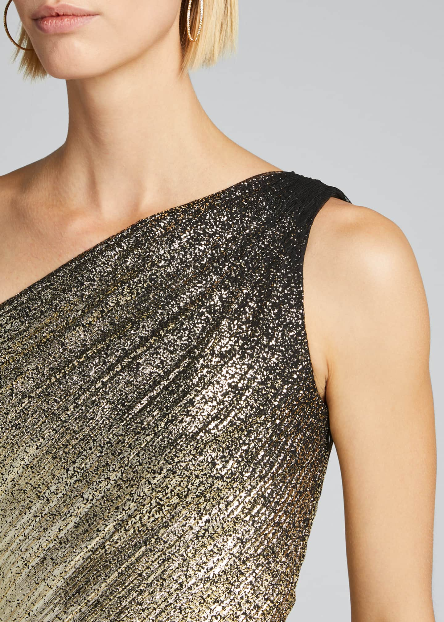 Image 4 of 5: One-Shoulder Pleated Foil Degrade Gown w/ High Slit