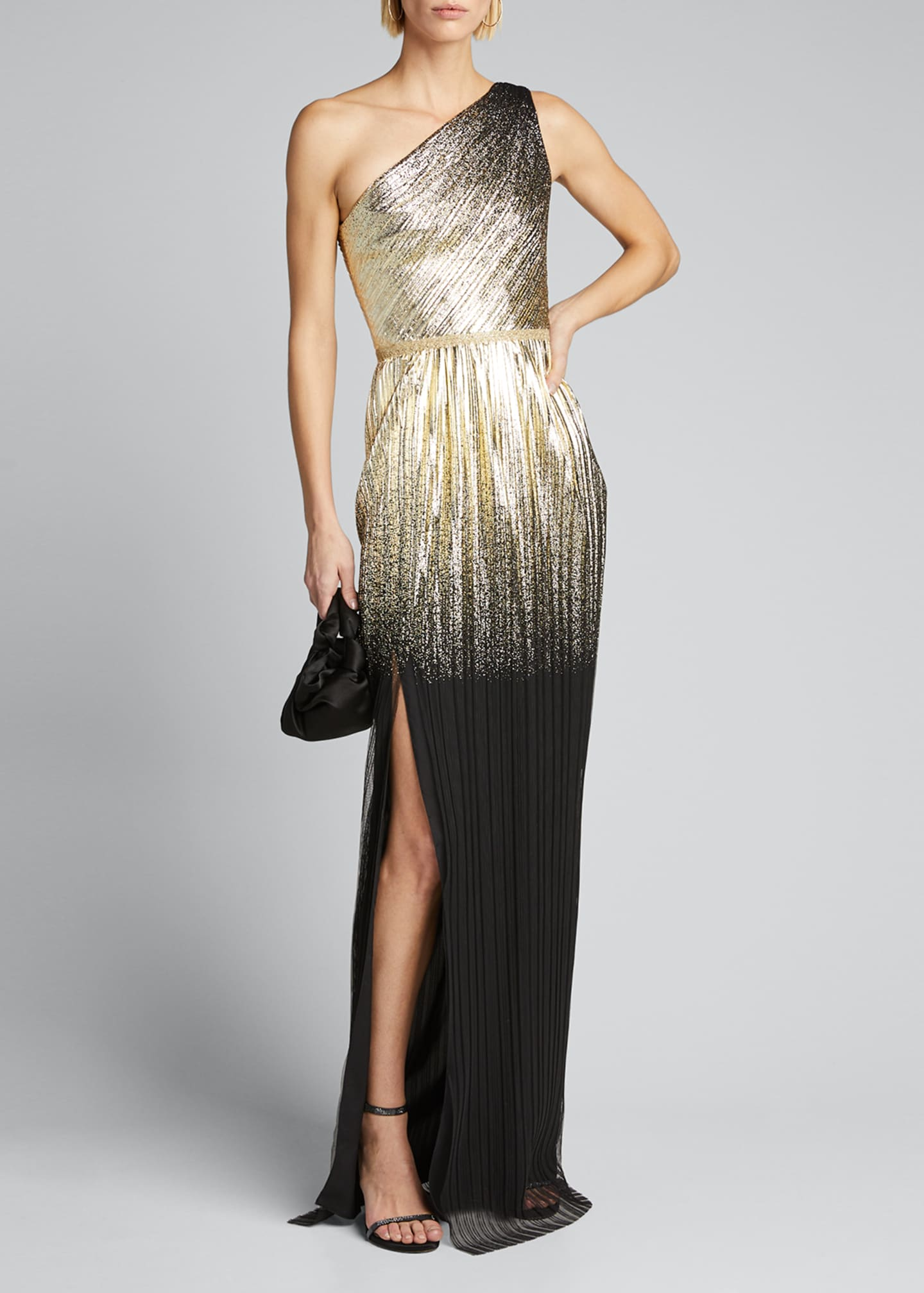 Image 1 of 5: One-Shoulder Pleated Foil Degrade Gown w/ High Slit