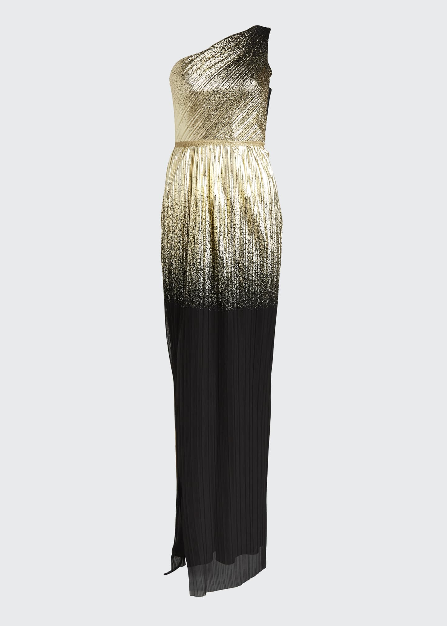 Image 5 of 5: One-Shoulder Pleated Foil Degrade Gown w/ High Slit