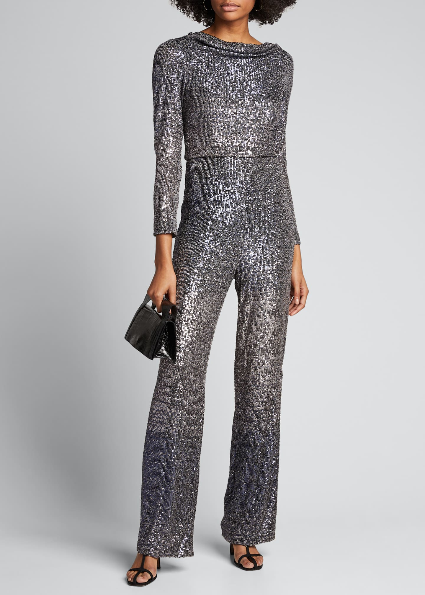 Badgley Mischka Collection Ombre Sequin Cowl-Neck Long-Sleeve