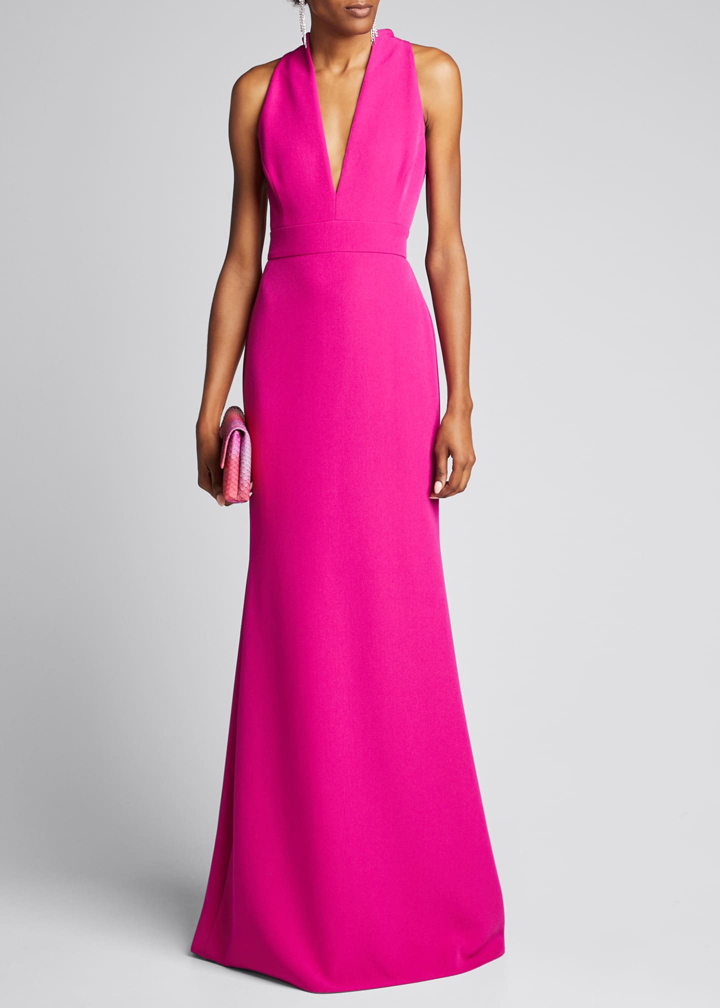 Badgley Mischka Collection V-Neck Column Gown with Cut-In
