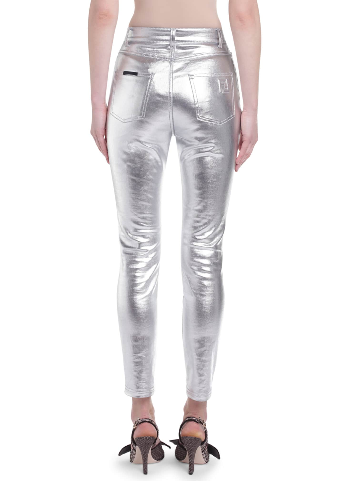 Image 2 of 2: Metallic-Coated Skinny Jeans