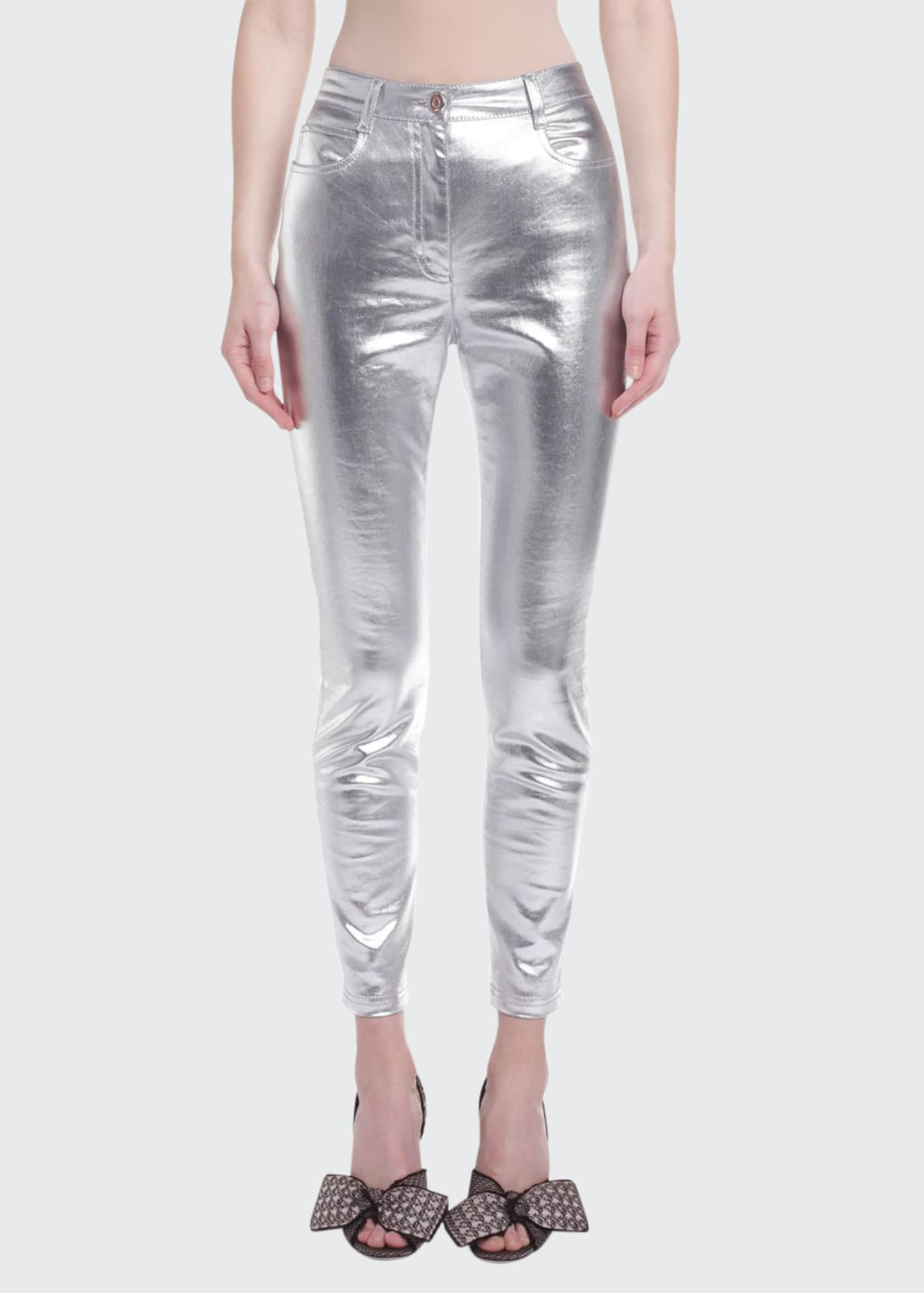 Image 1 of 2: Metallic-Coated Skinny Jeans