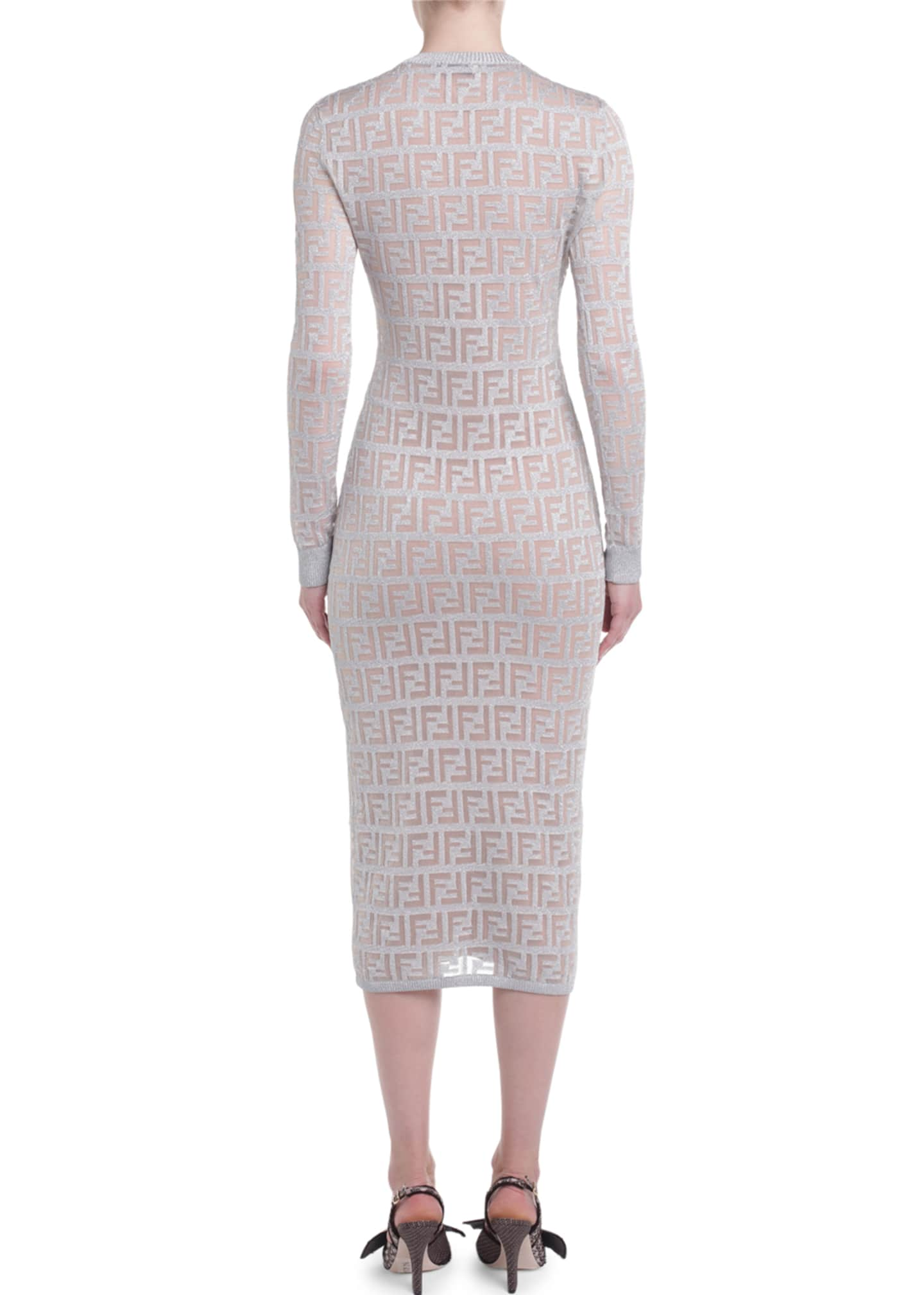 Image 2 of 2: Logo-Jacquard Long-Sleeve Bodycon Dress