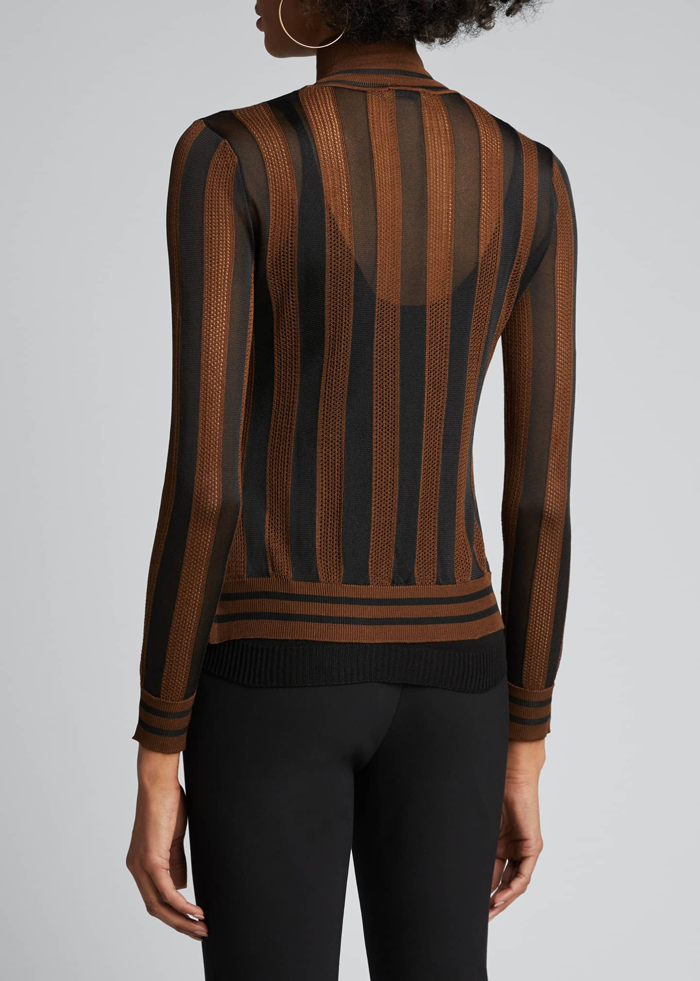 Image 2 of 5: Silk Semisheer Striped Turtleneck Sweater