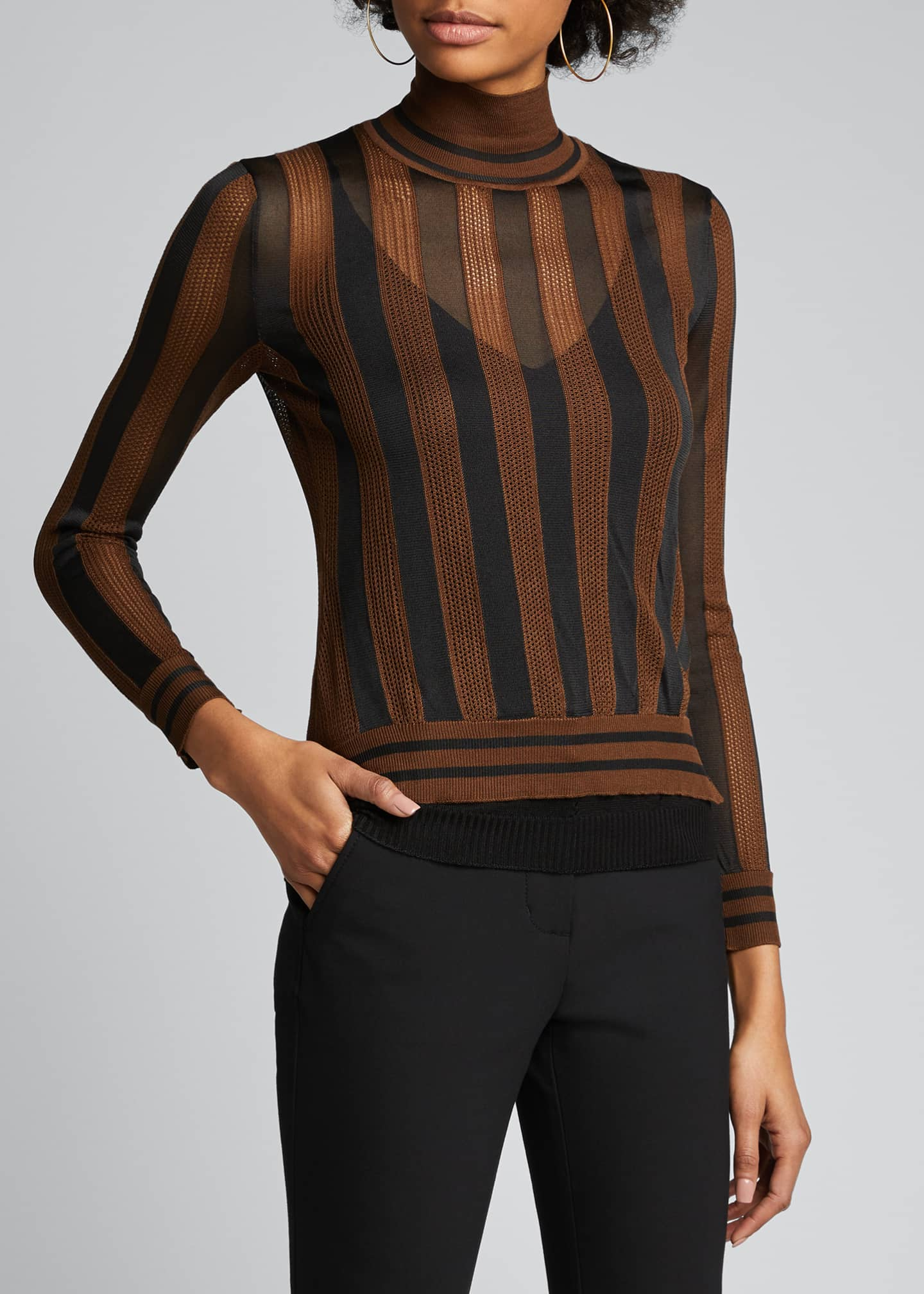Image 3 of 5: Silk Semisheer Striped Turtleneck Sweater