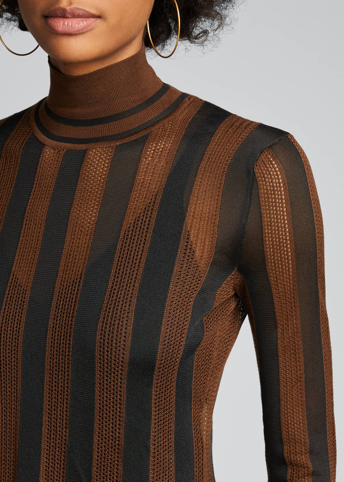Image 4 of 5: Silk Semisheer Striped Turtleneck Sweater