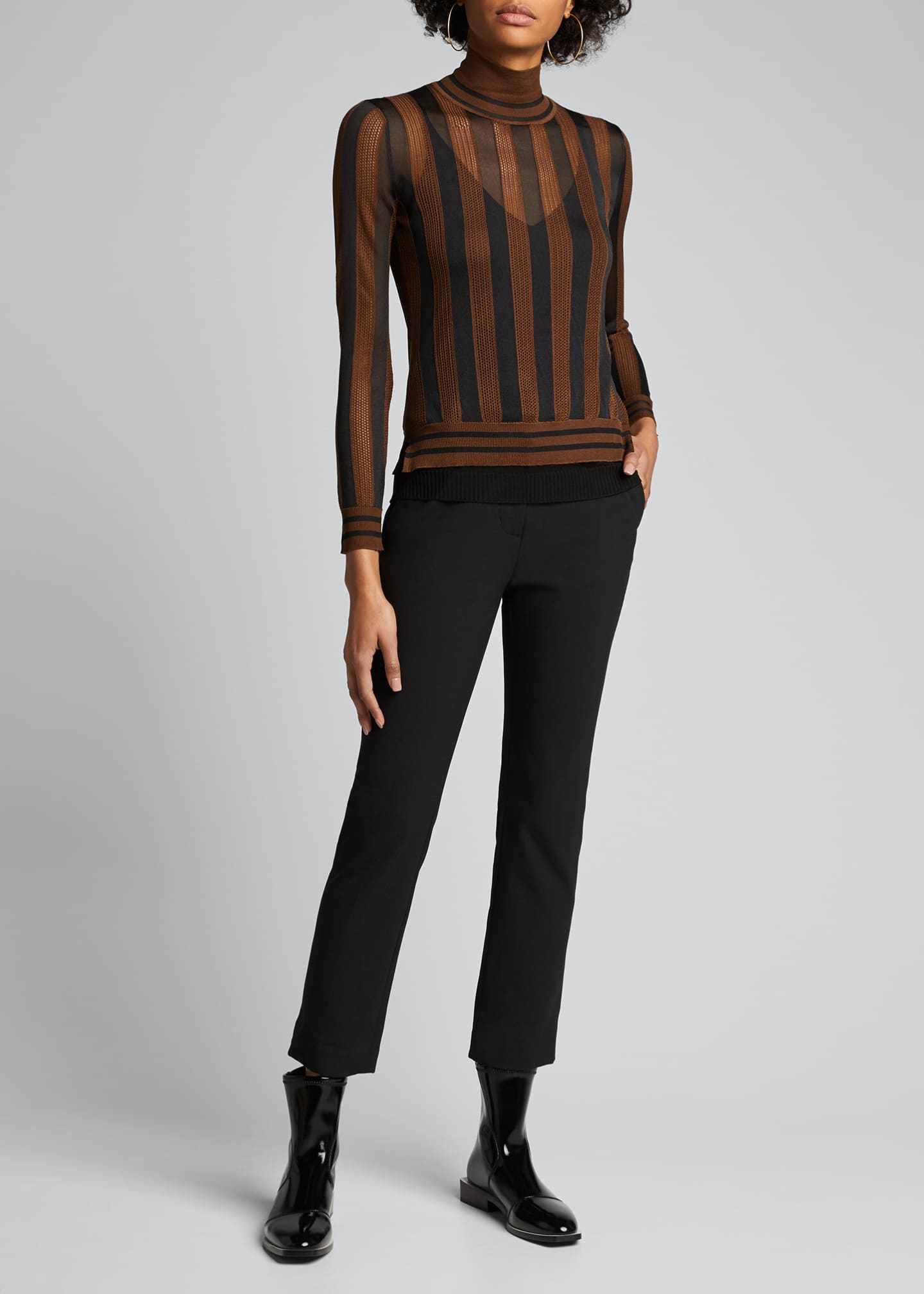 Image 1 of 5: Silk Semisheer Striped Turtleneck Sweater