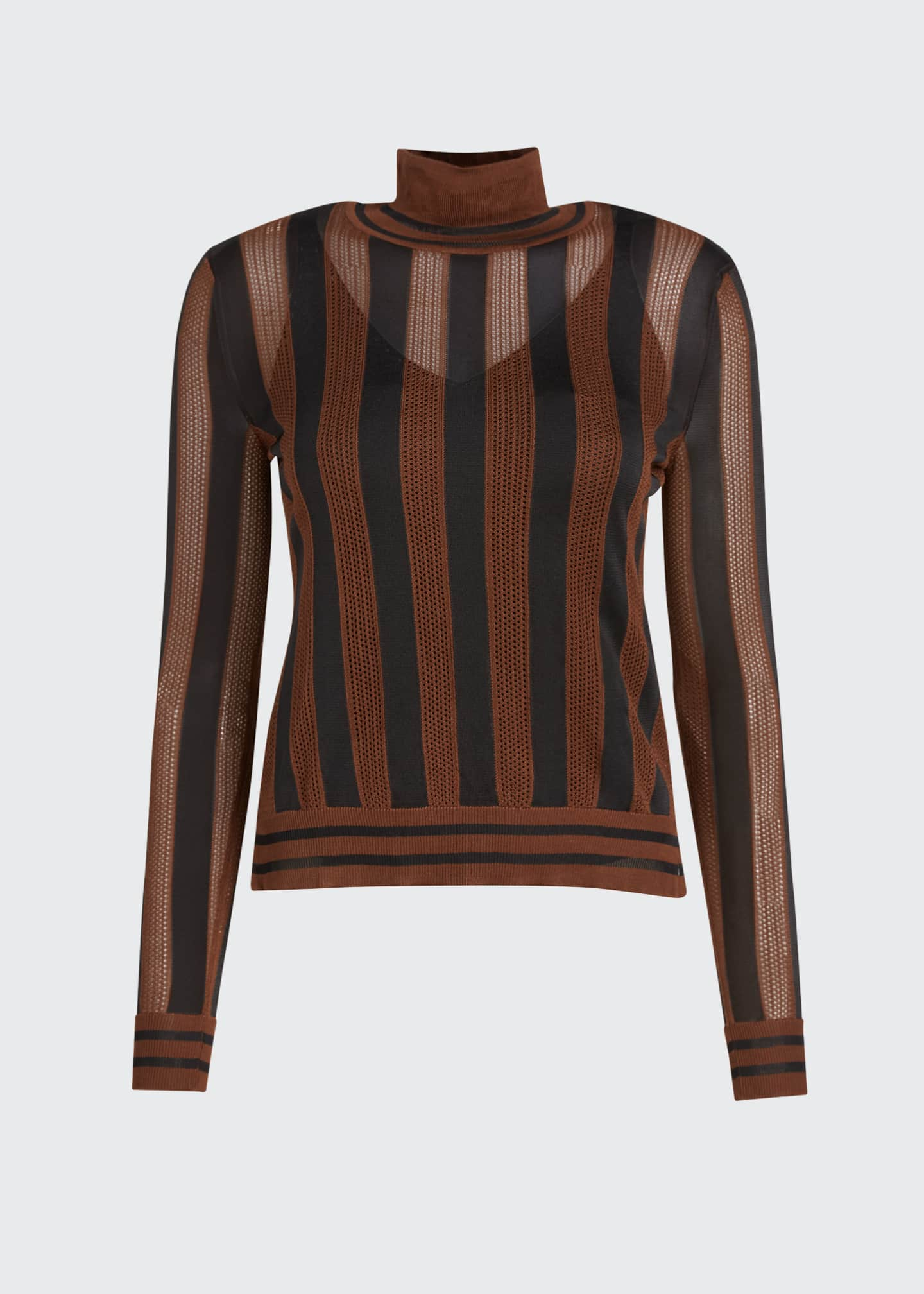 Image 5 of 5: Silk Semisheer Striped Turtleneck Sweater