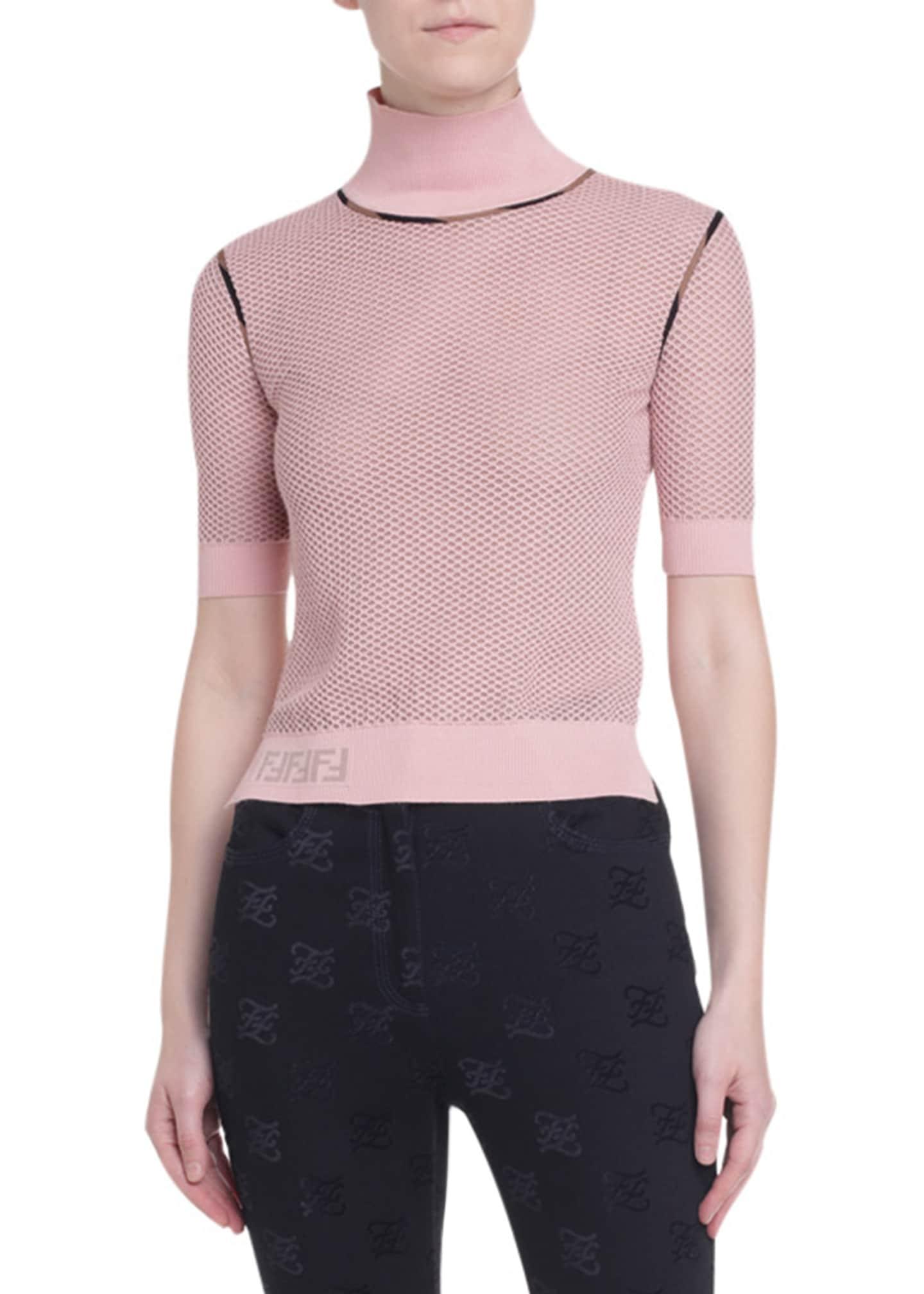 Fendi Short-Sleeve Mesh Sweater