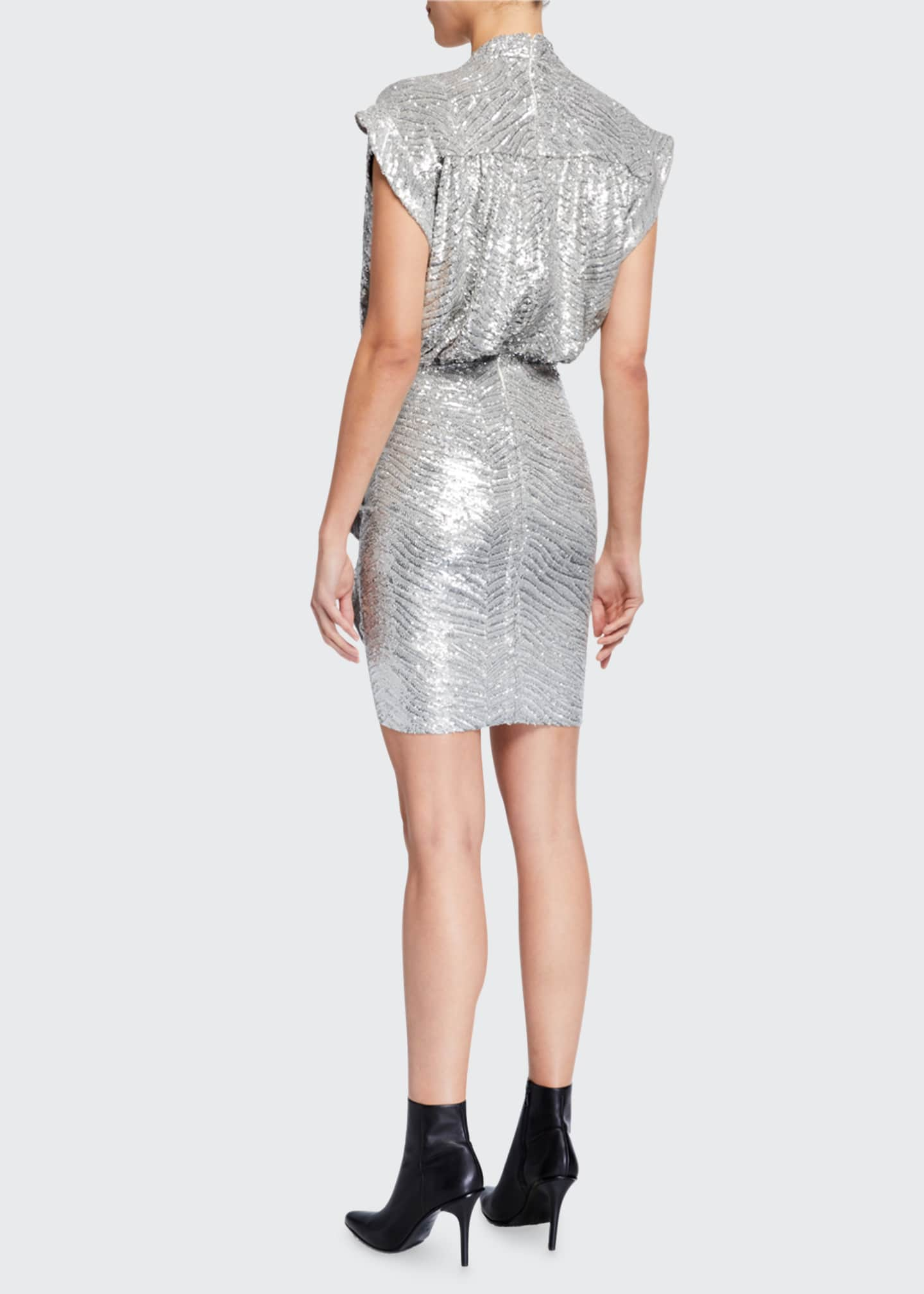 Image 2 of 2: Sagria Draped Metallic Cocktail Dress