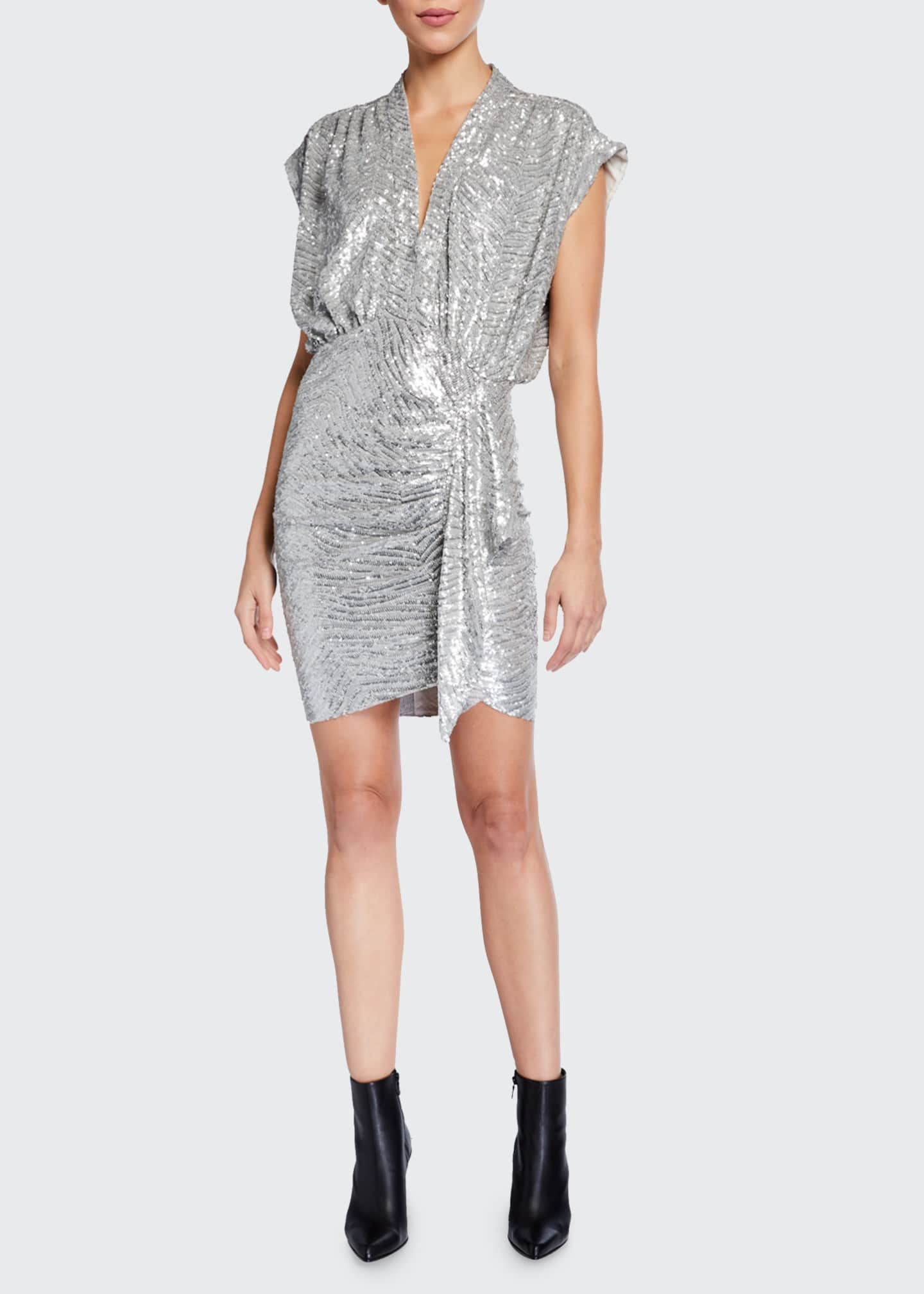 Image 1 of 2: Sagria Draped Metallic Cocktail Dress