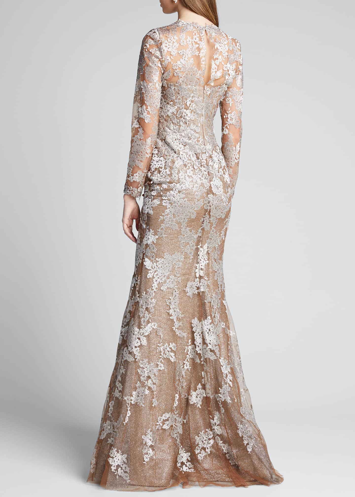 Image 2 of 5: Long-Sleeve Lace Illusion Mermaid Gown