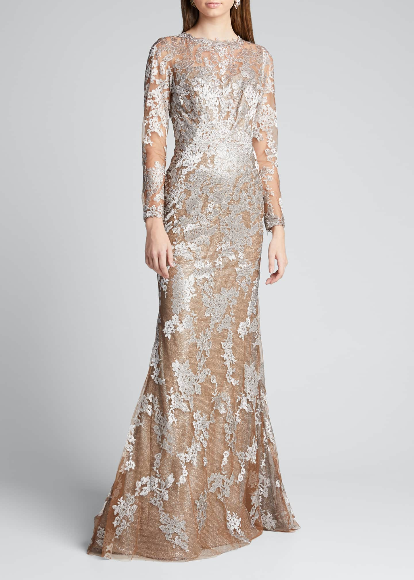 Image 3 of 5: Long-Sleeve Lace Illusion Mermaid Gown