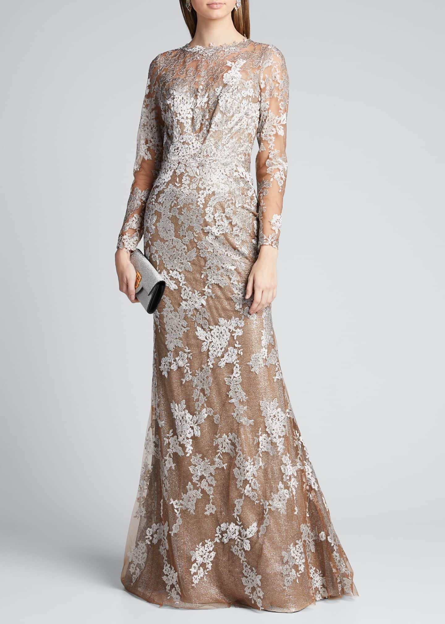 Image 1 of 5: Long-Sleeve Lace Illusion Mermaid Gown