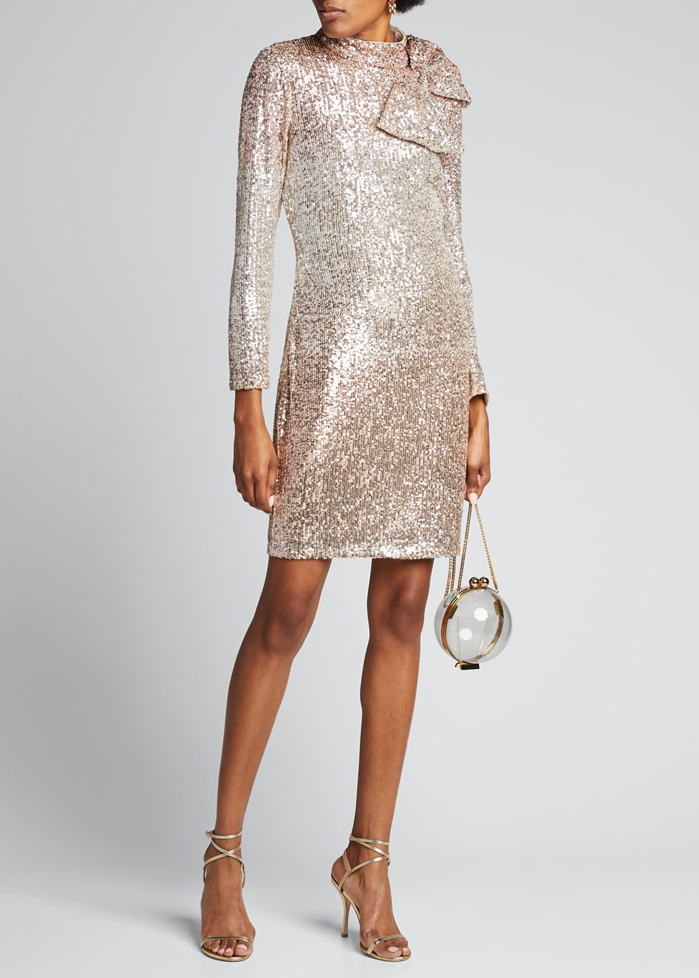 Badgley Mischka Collection Ombre Sequin Bow-Shoulder Long-Sleeve