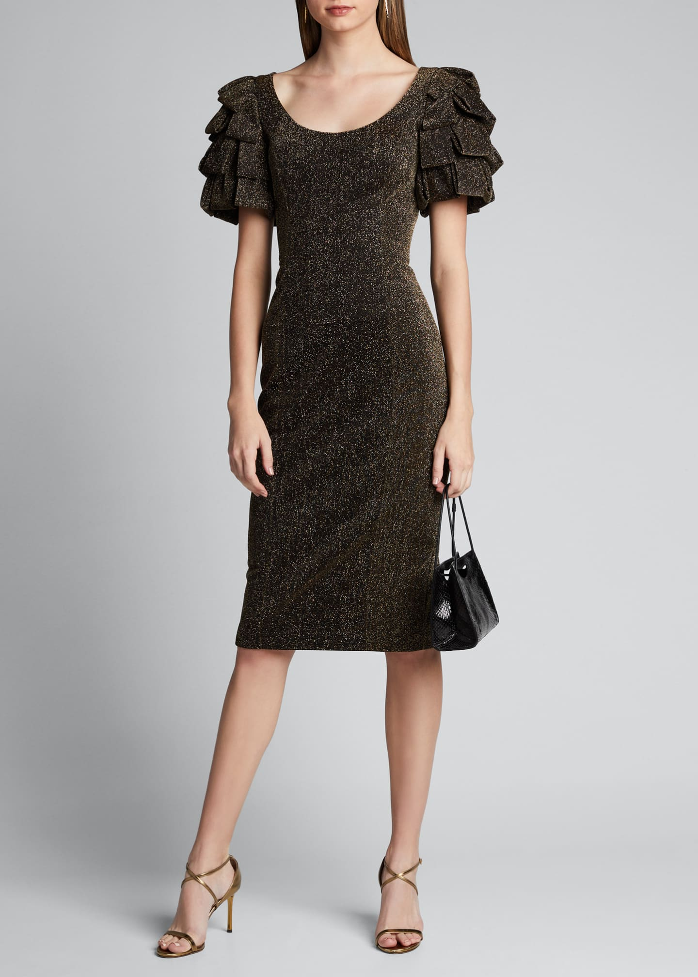 Badgley Mischka Collection Metallic Loop-Sleeve Sheath Dress