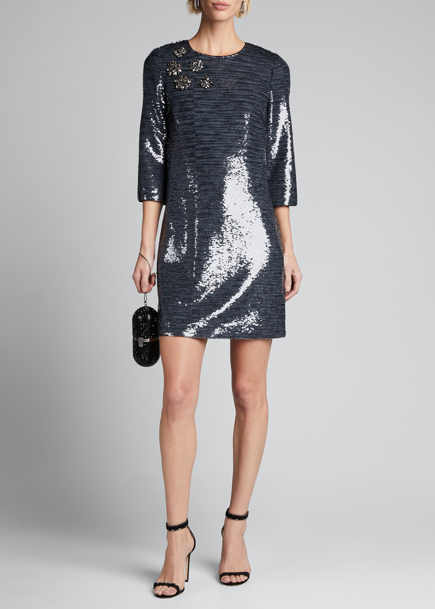 Badgley Mischka Collection Sequin Sack Elbow-Sleeve Mini Dress
