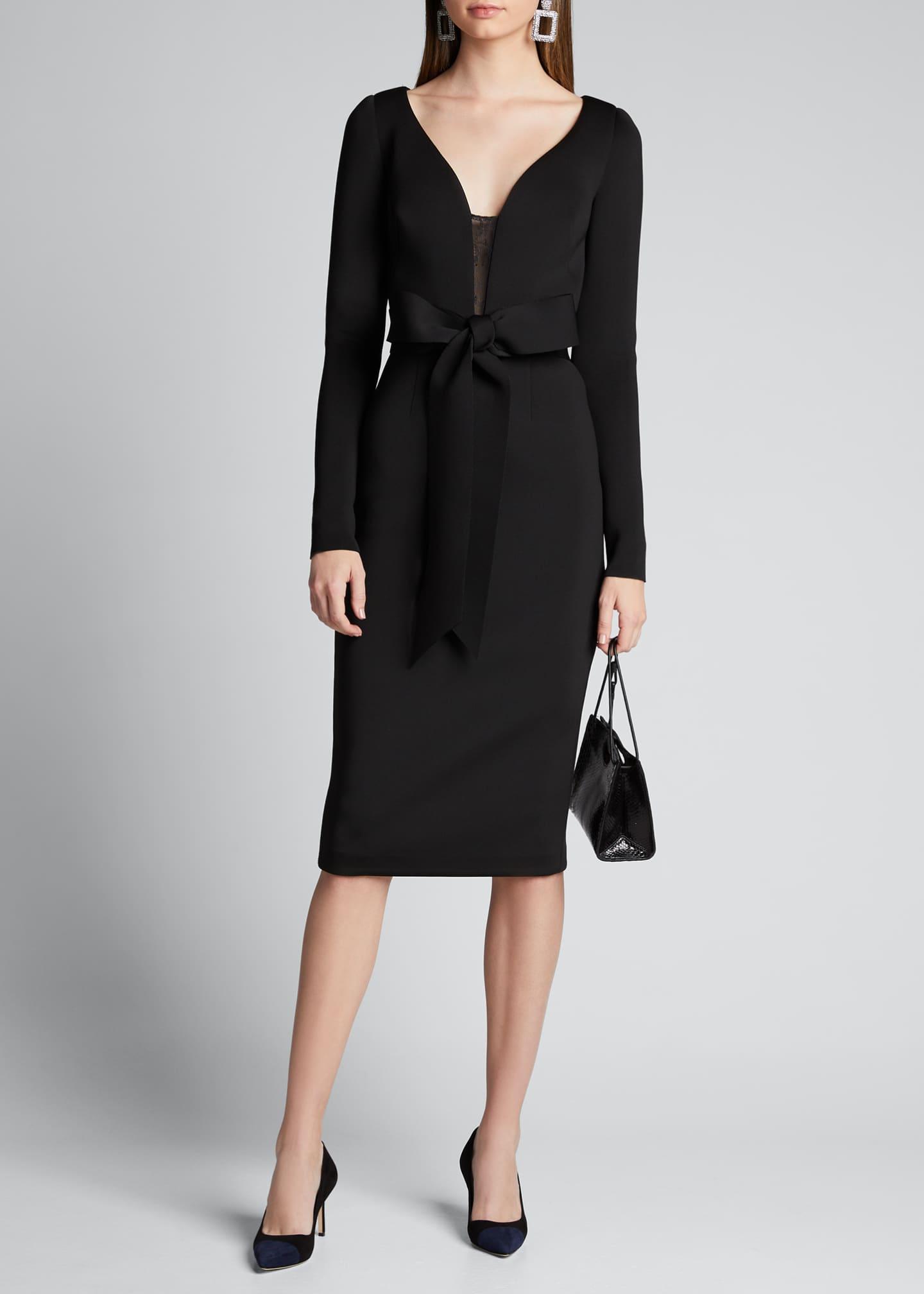 Badgley Mischka Collection V-Neck Long-Sleeve Scuba Dress with