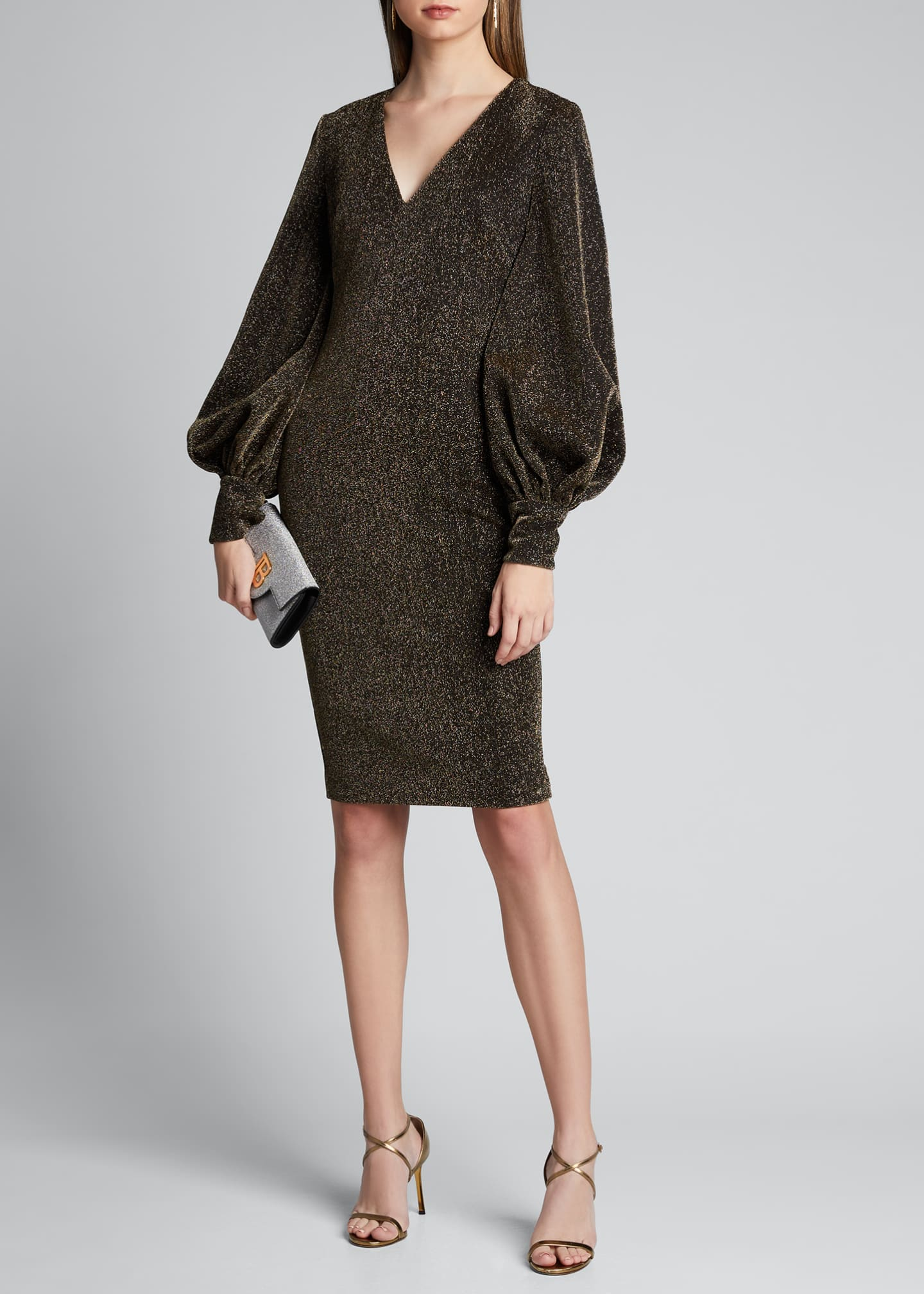 Badgley Mischka Collection Metallic Shimmer Knit V-Neck