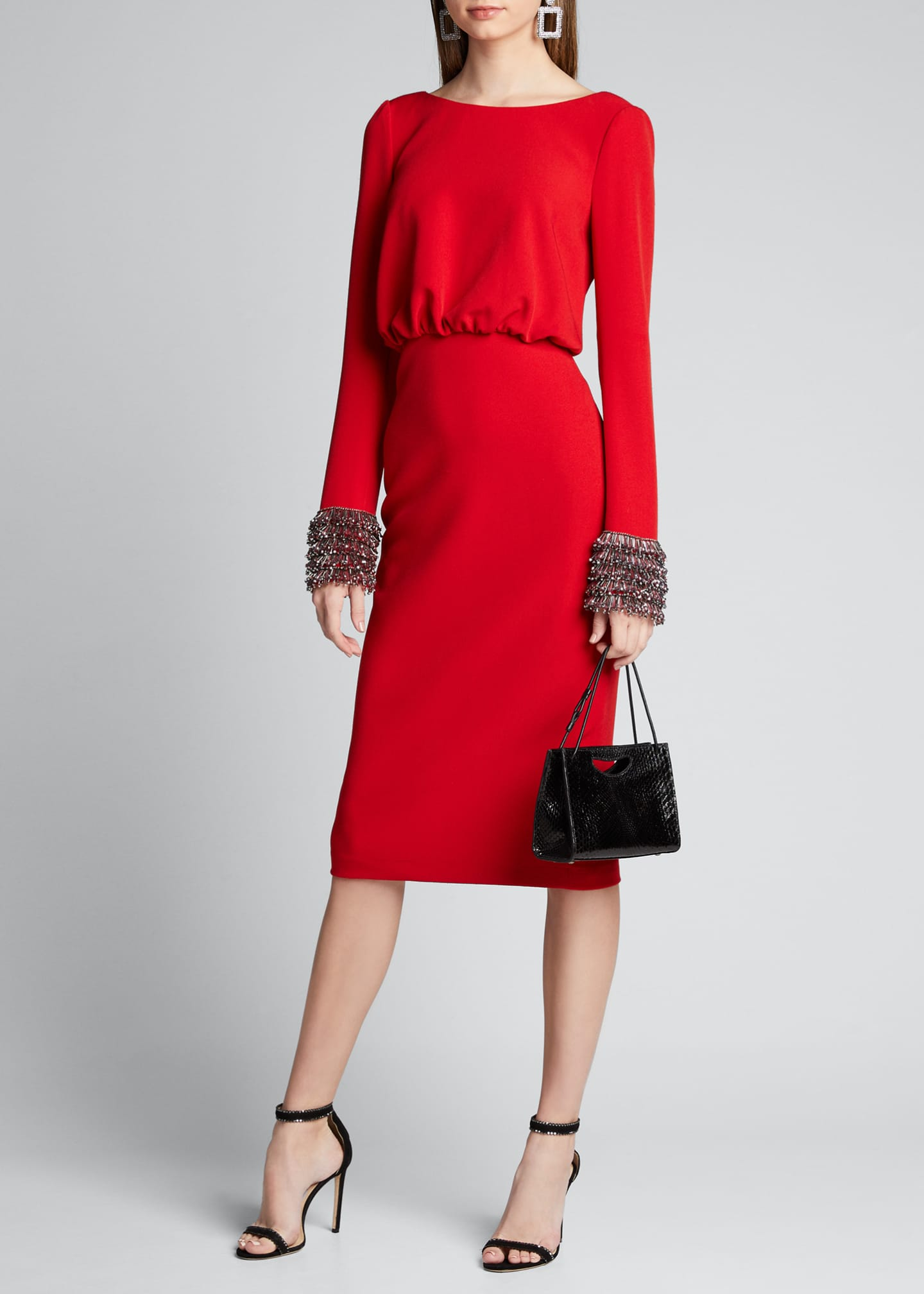 Badgley Mischka Collection V-Back Long-Sleeve Dress with Beaded