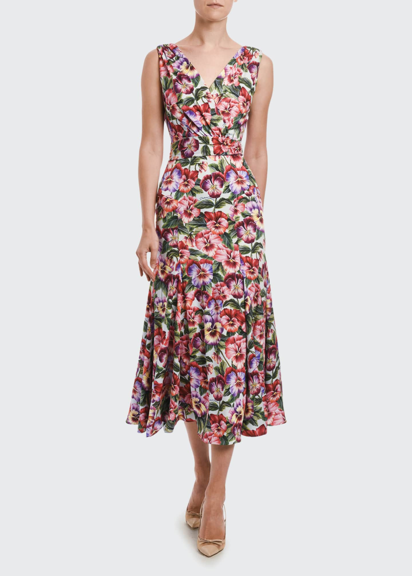 Image 1 of 2: Multi-Pansy-Print Midi Skirt