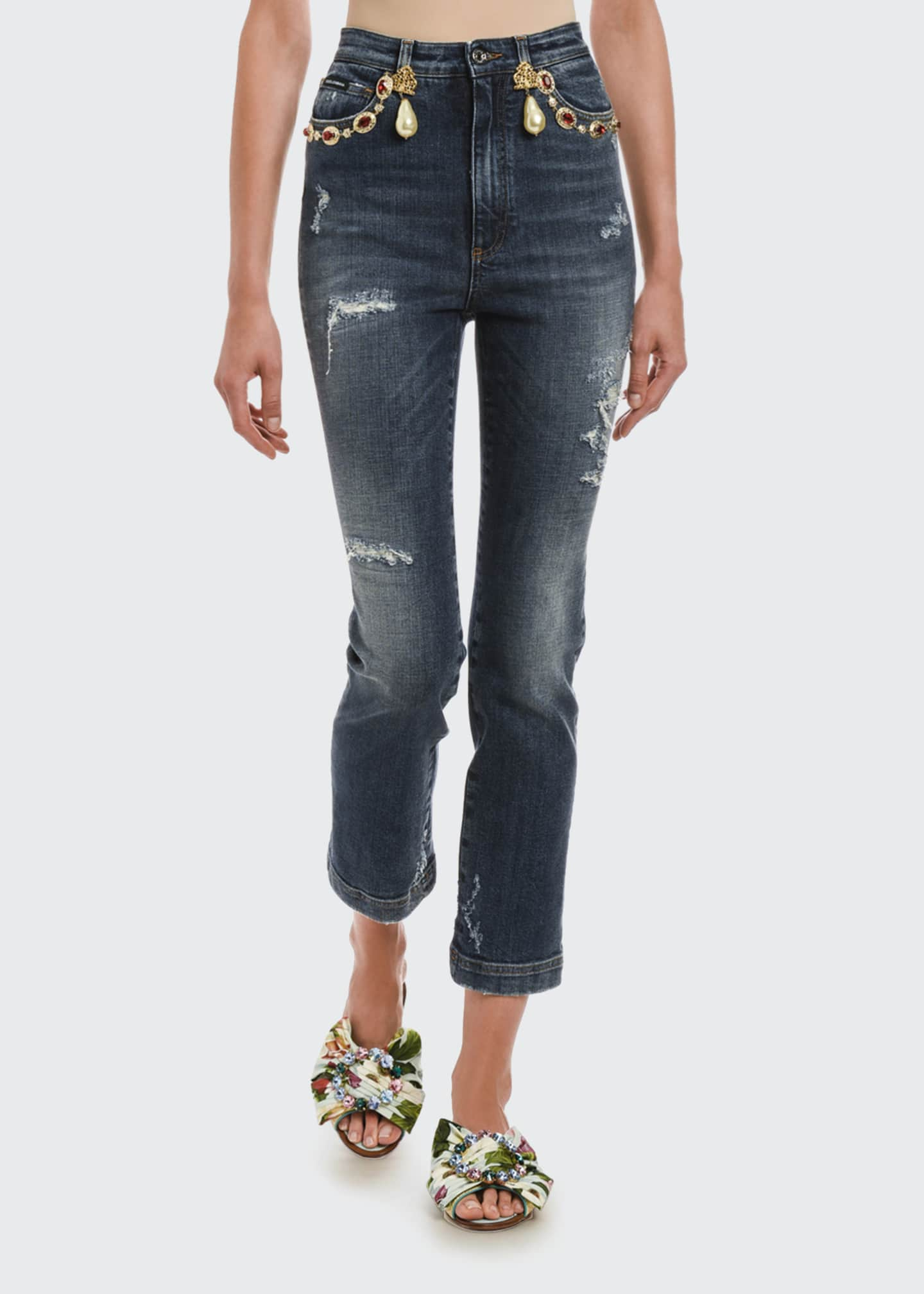 Image 1 of 2: Embellished Cropped Jeans