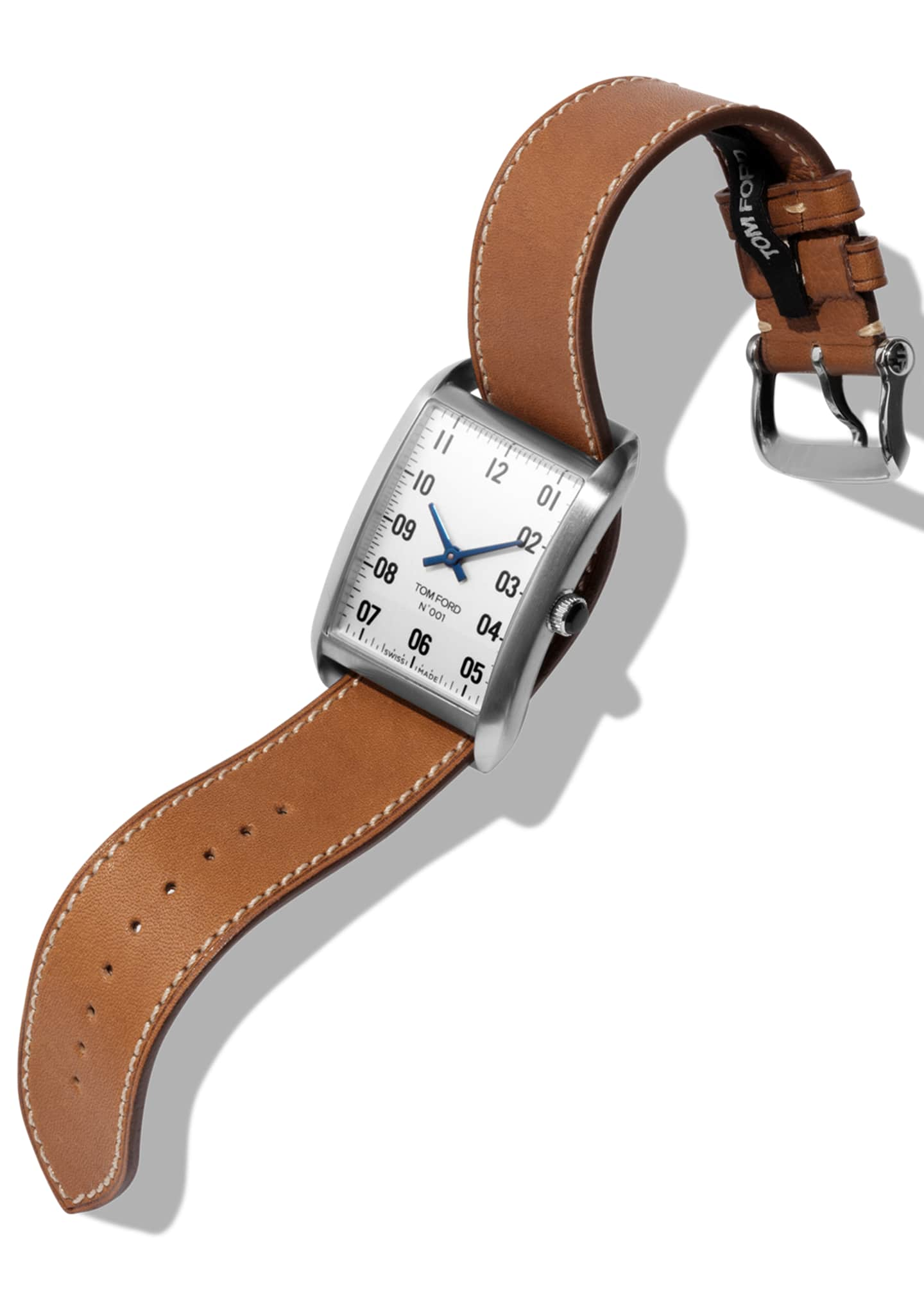 Image 2 of 4: N.001 44mm x 30mm Rectangular Leather Watch