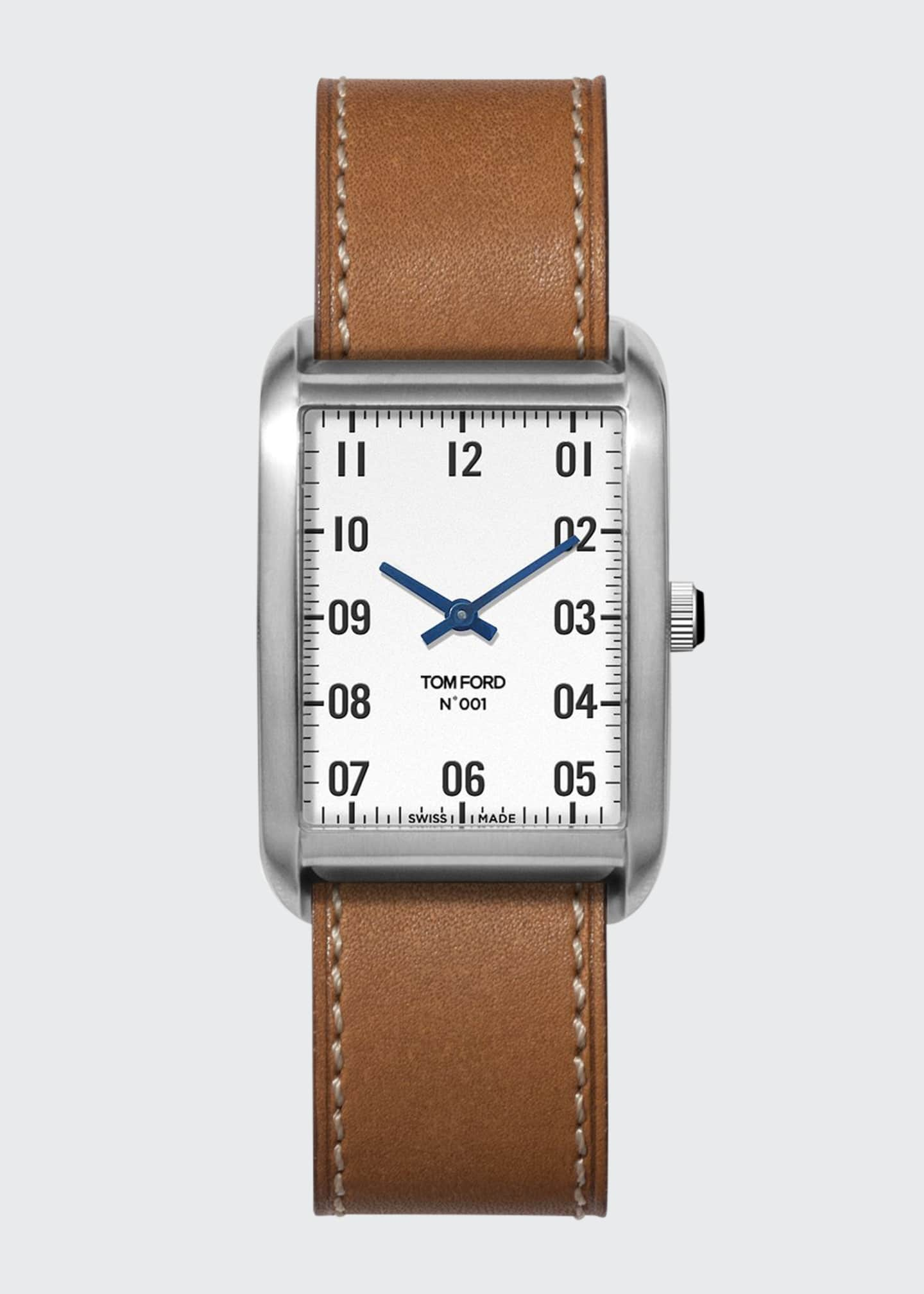 Image 1 of 4: N.001 44mm x 30mm Rectangular Leather Watch
