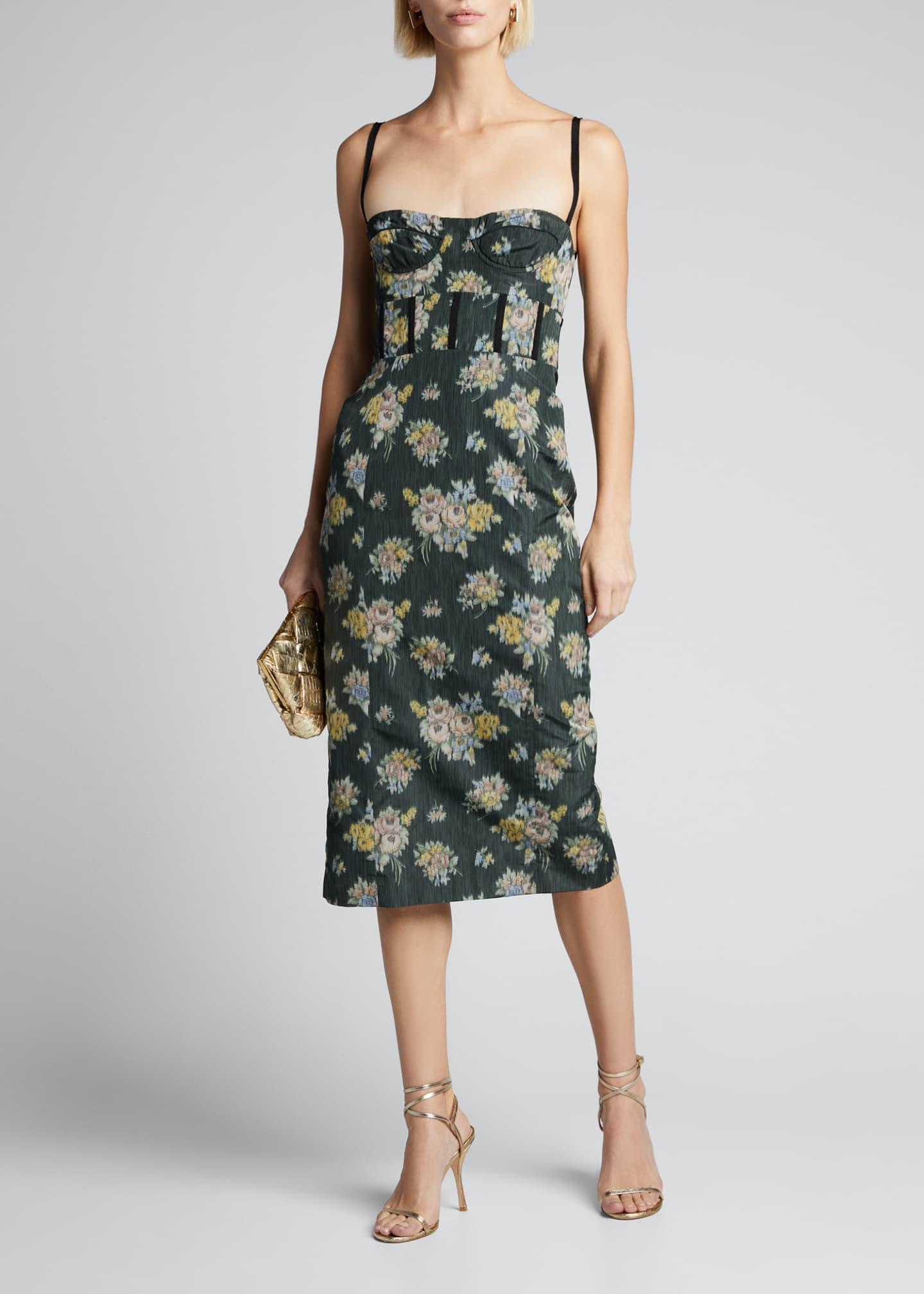 Brock Collection Floral-Print Balconette Dress