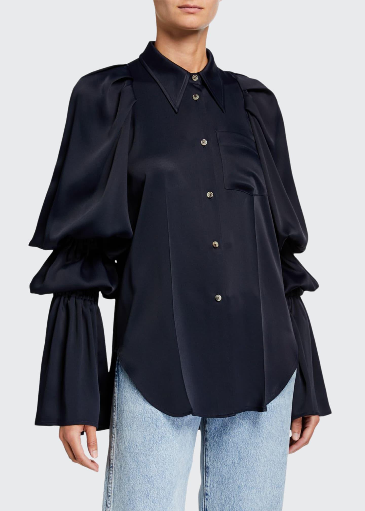 Khaite Leith Satin Tiered-Sleeve Shirt