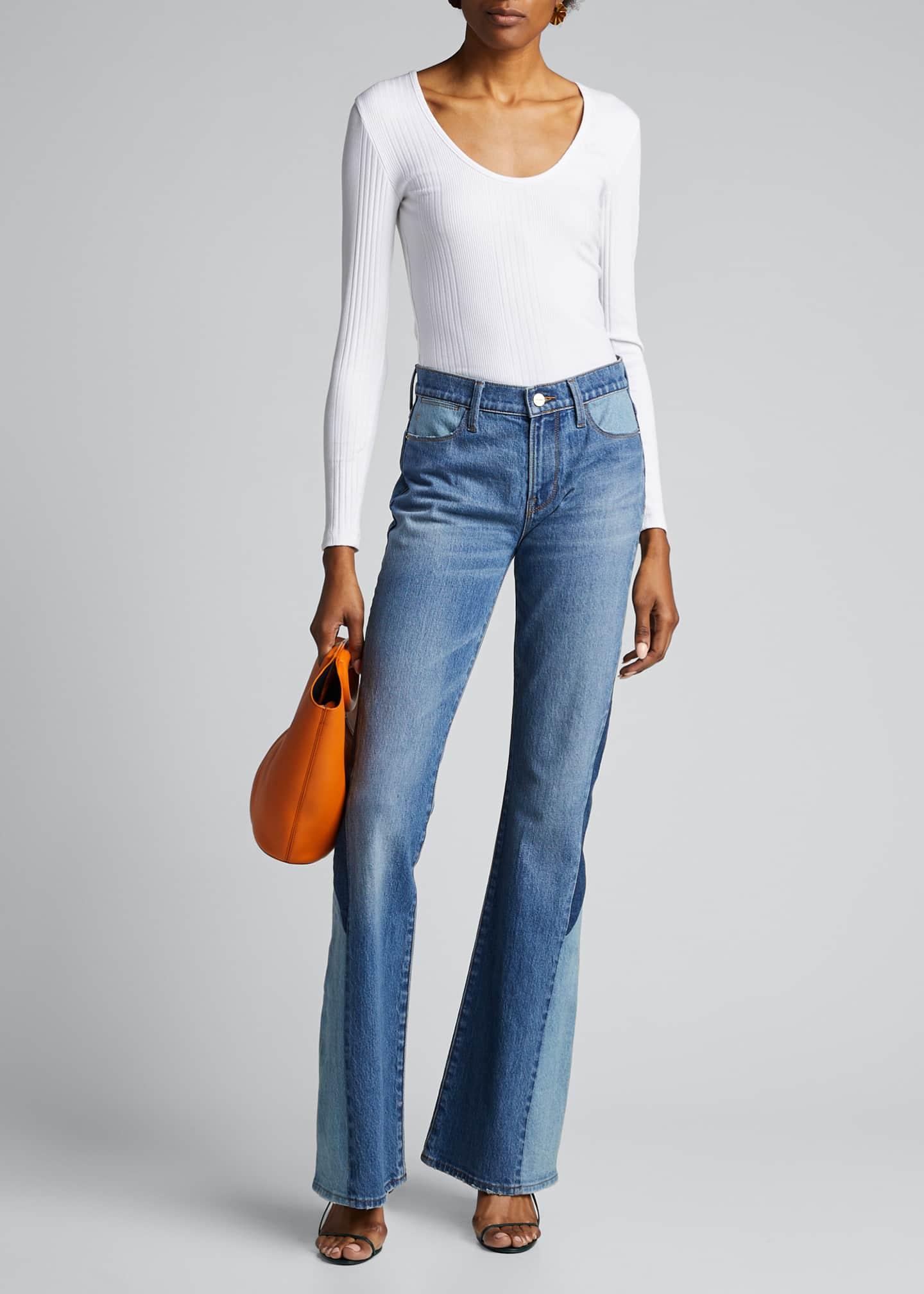 FRAME Le High Flare Diagonal Block Jeans
