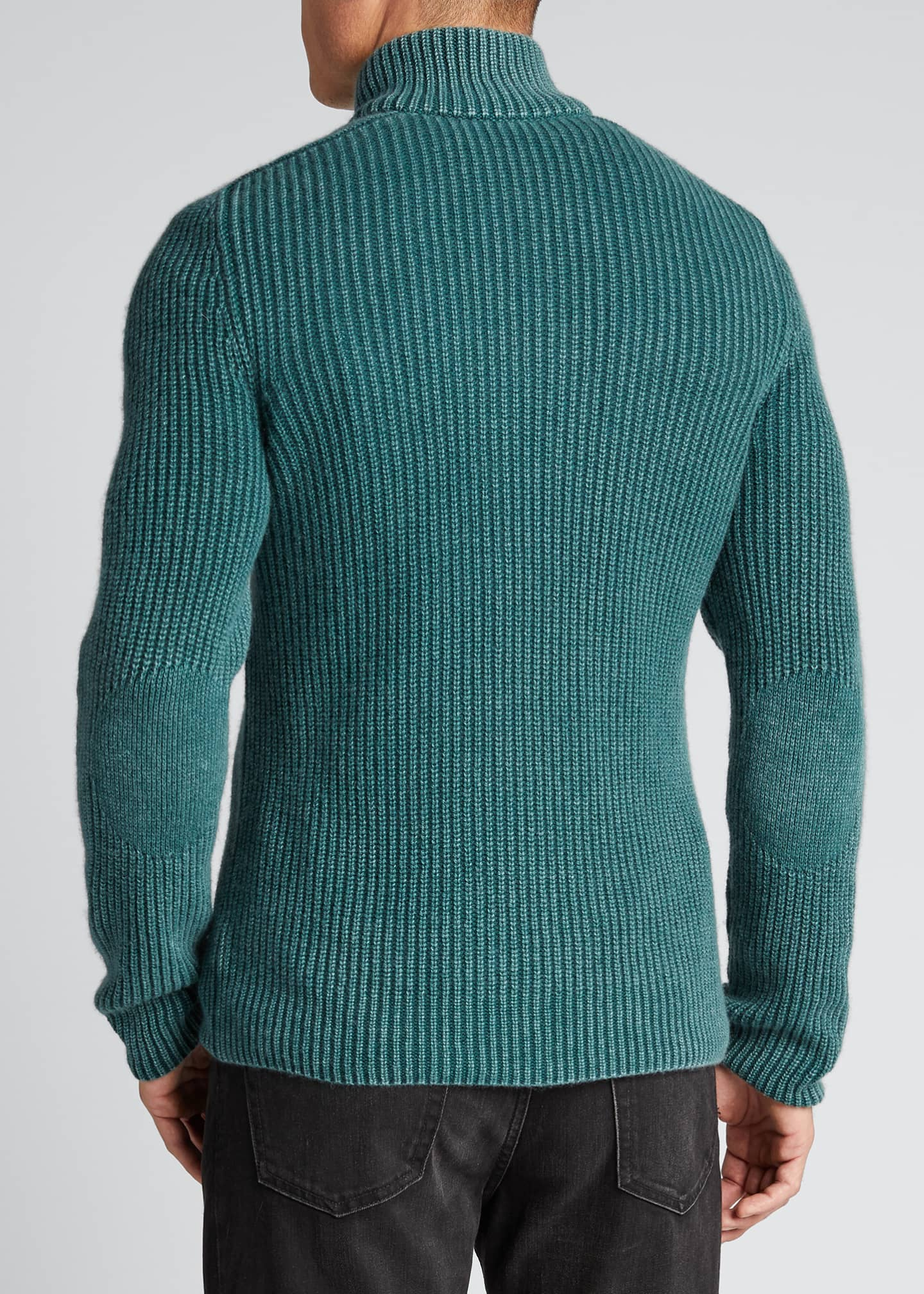 Image 2 of 5: Men's Stone-Washed Ribbed Zip-Front Sweater