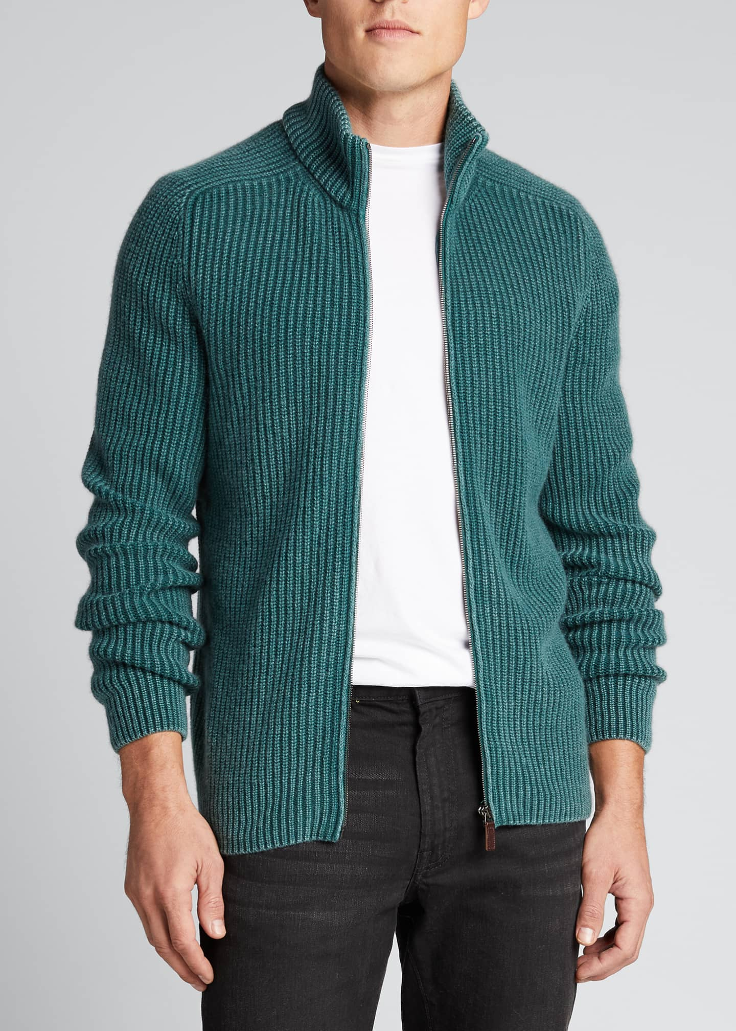Image 3 of 5: Men's Stone-Washed Ribbed Zip-Front Sweater