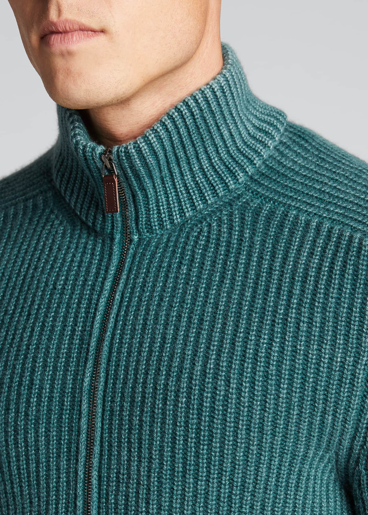 Image 4 of 5: Men's Stone-Washed Ribbed Zip-Front Sweater