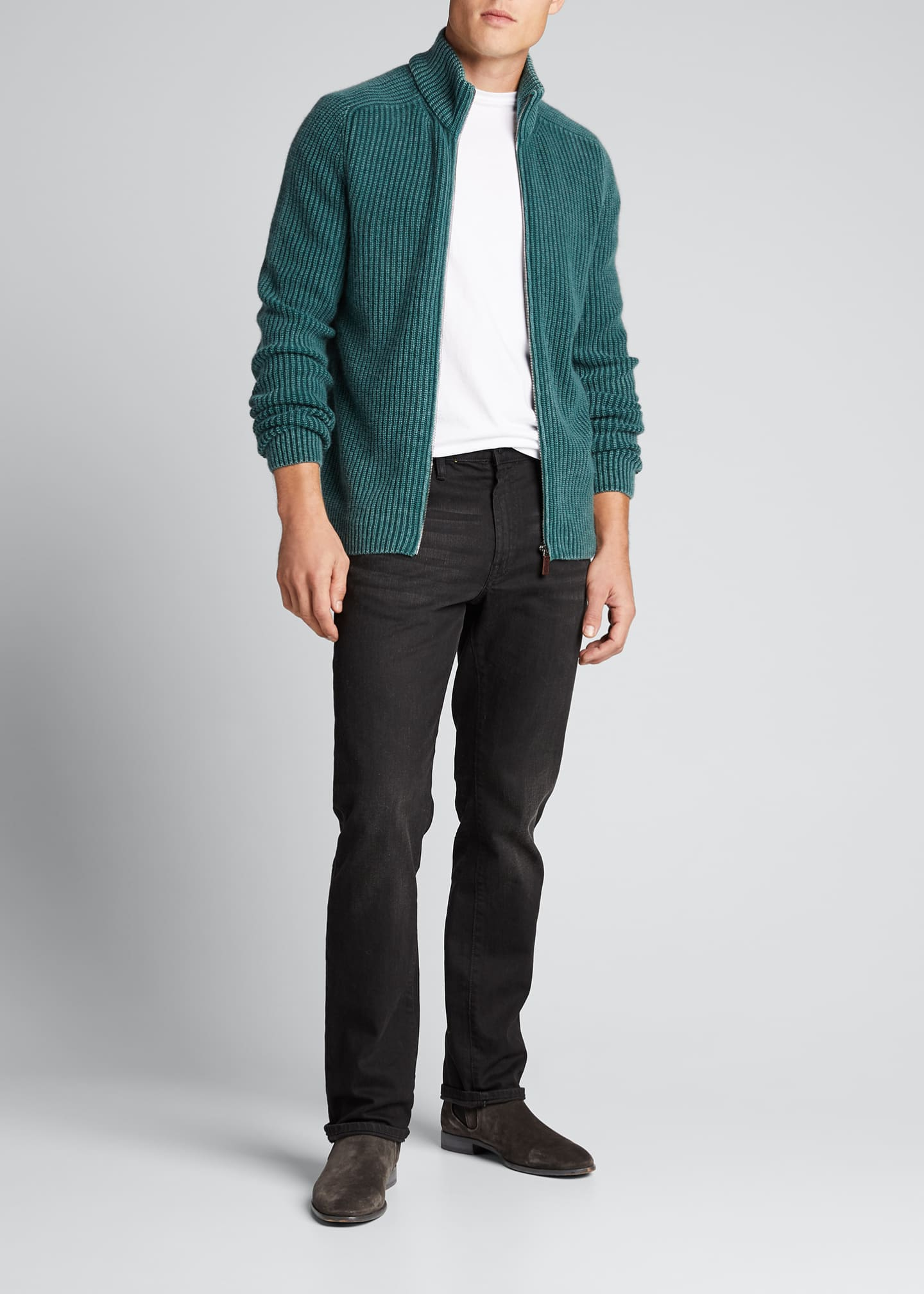 Image 1 of 5: Men's Stone-Washed Ribbed Zip-Front Sweater